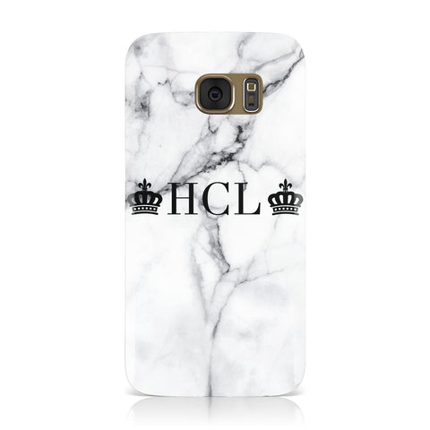 Personalised Crowns Marble Initials Samsung Galaxy Case