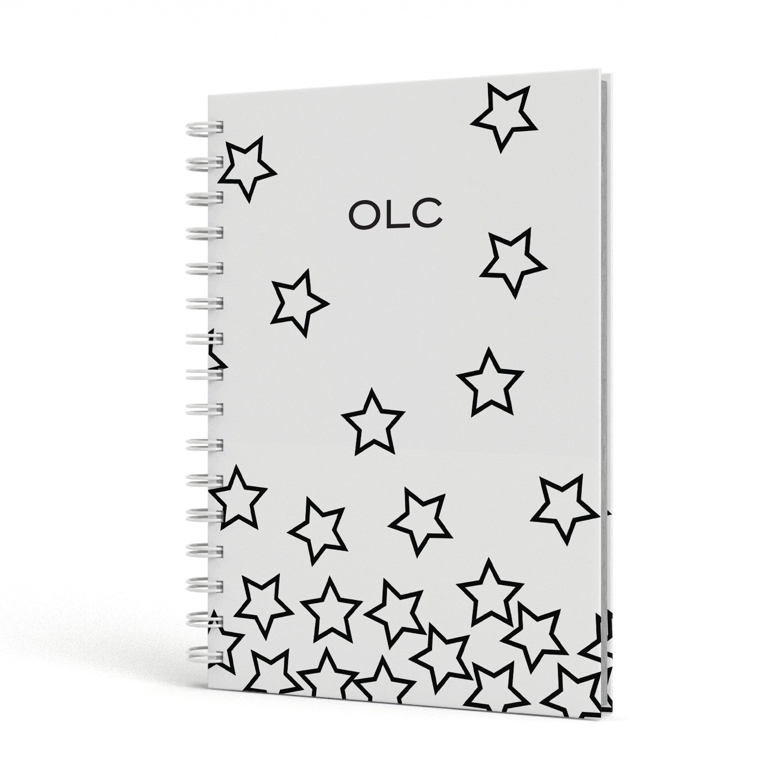 Custom Personalised Initials A5 Hardcover Notebook Side View
