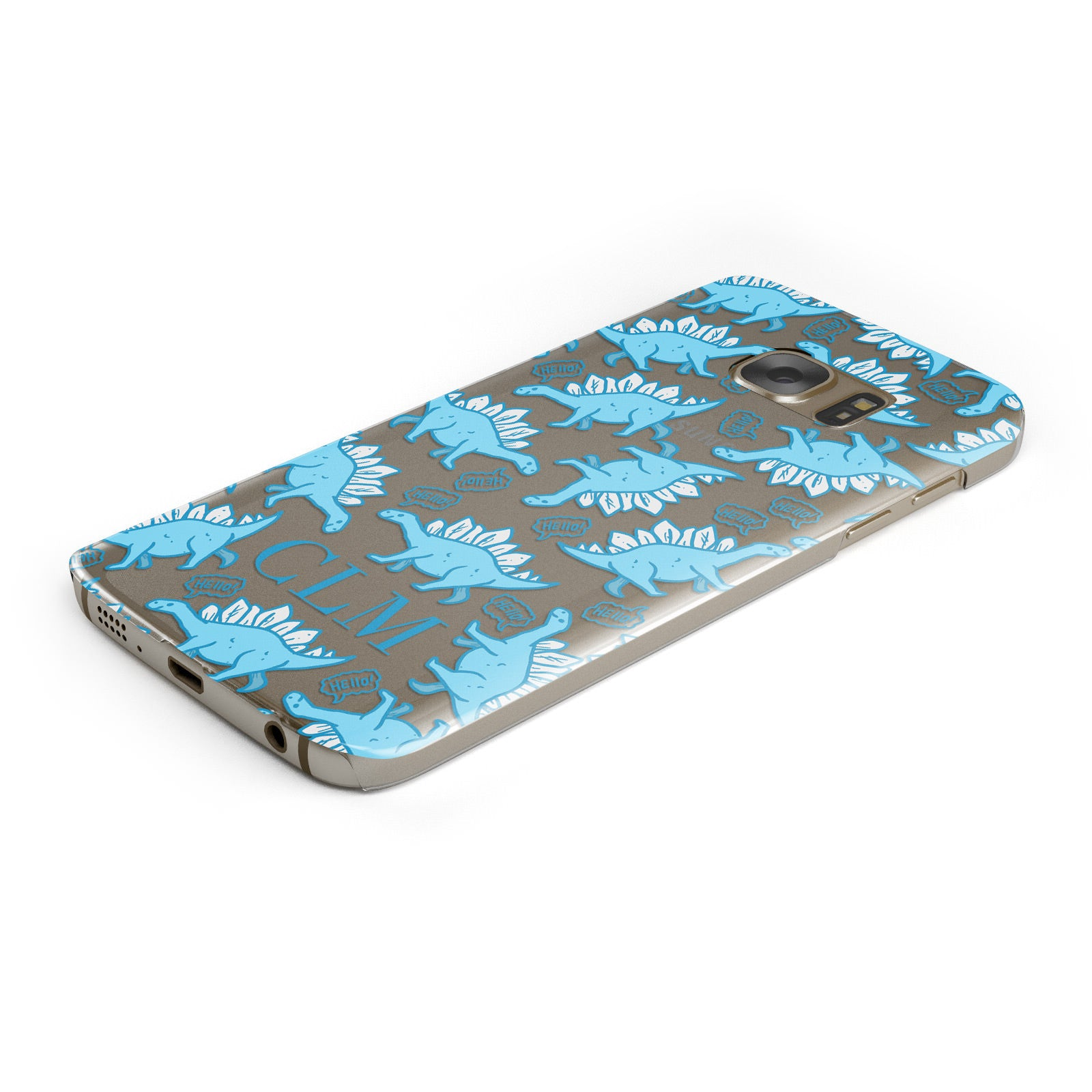 Personalised Dinosaur Initials Samsung Galaxy Case Bottom Cutout