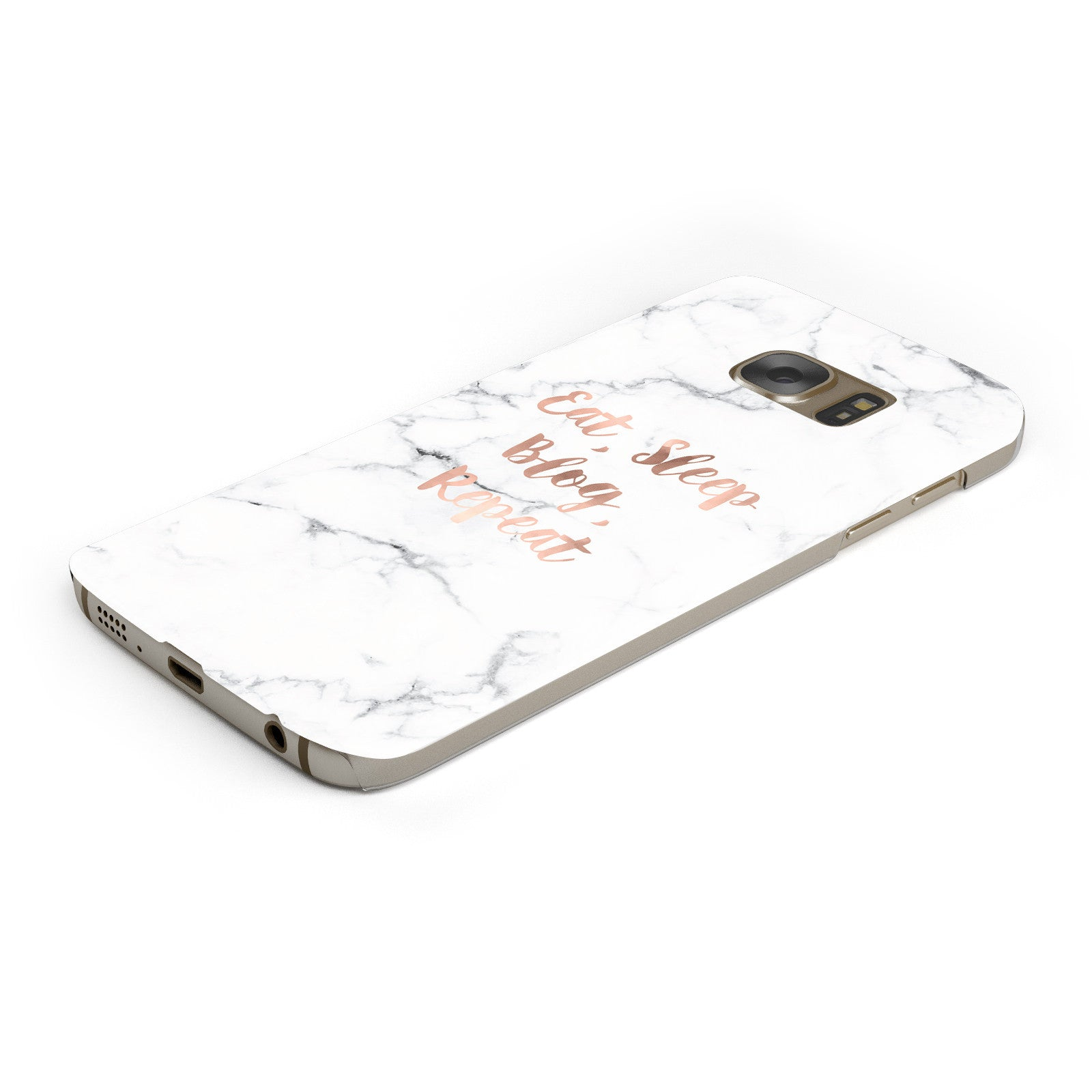 Eat Sleep Blog Repeat Marble Effect Samsung Galaxy Case Bottom Cutout