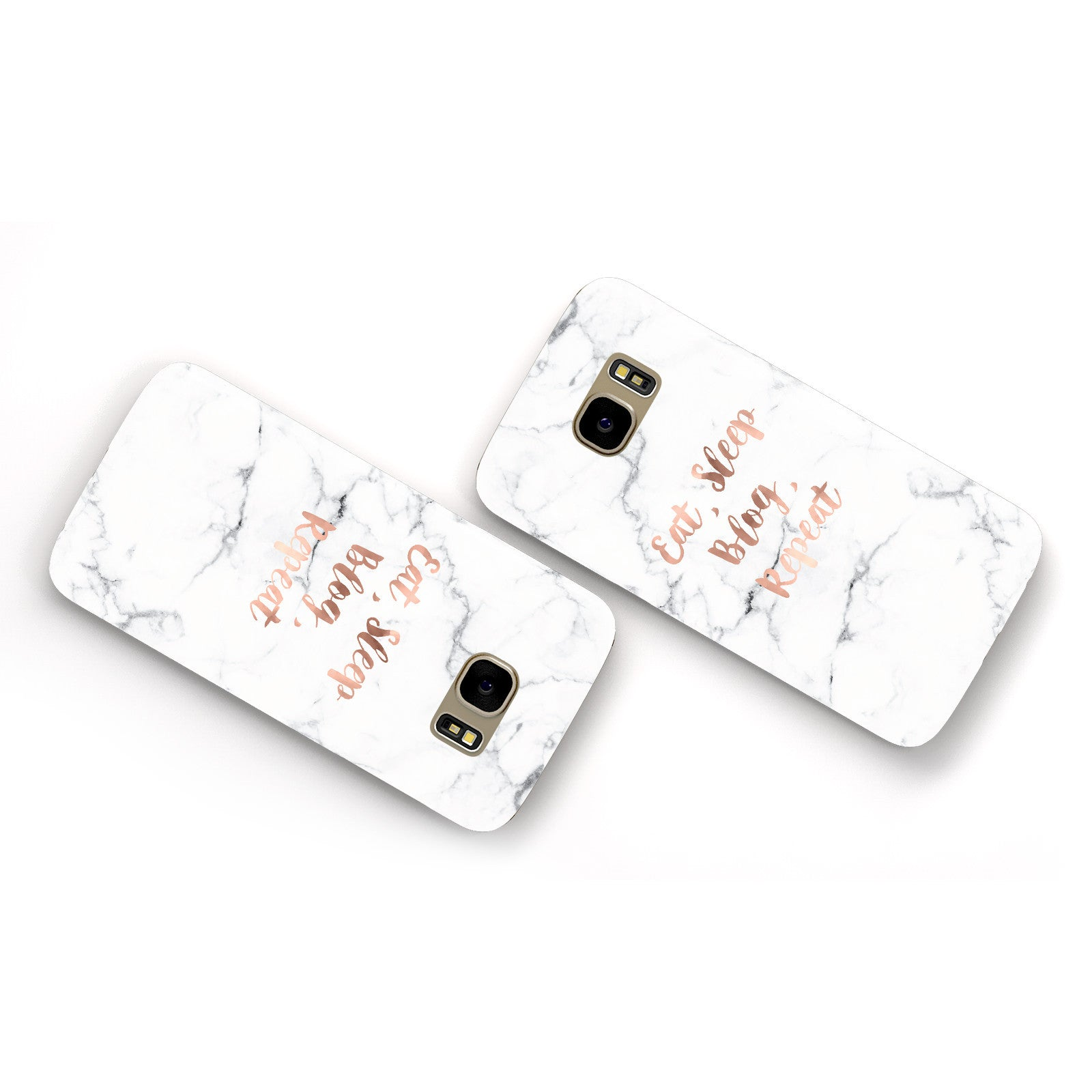 Eat Sleep Blog Repeat Marble Effect Samsung Galaxy Case Flat Overview