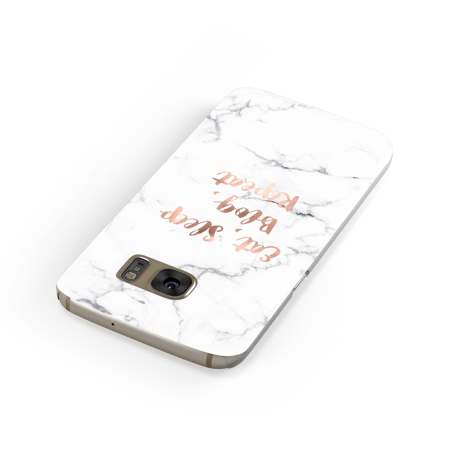 Eat Sleep Blog Repeat Marble Effect Samsung Galaxy Case Front Close Up