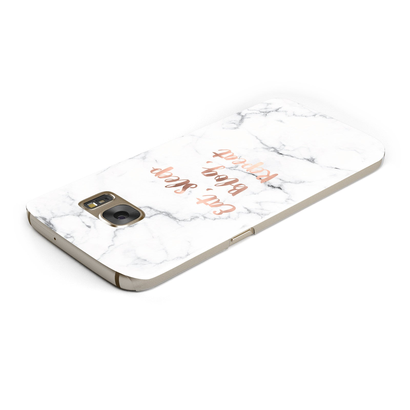 Eat Sleep Blog Repeat Marble Effect Samsung Galaxy Case Top Cutout