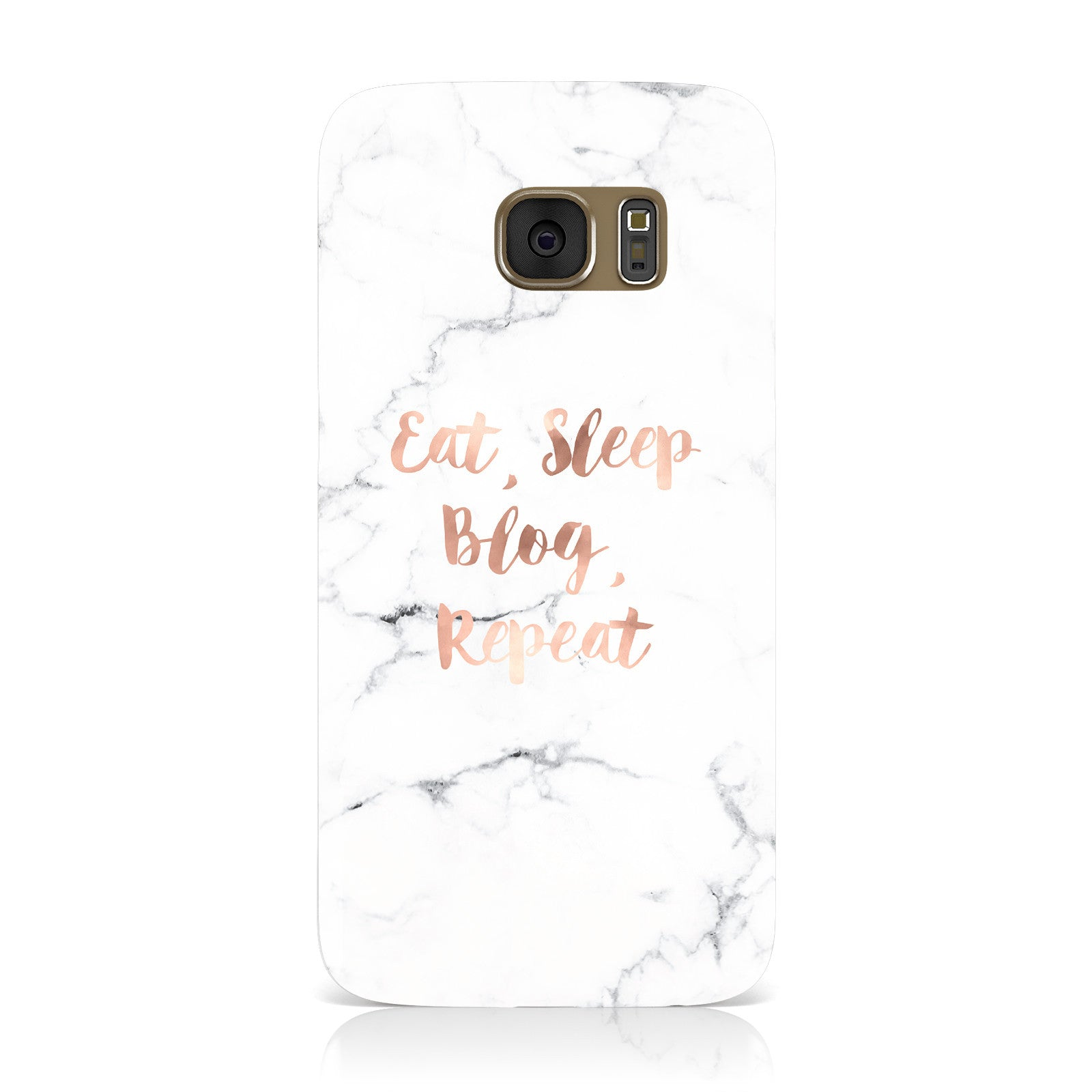Eat Sleep Blog Repeat Marble Effect Samsung Galaxy Case