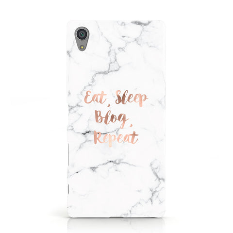 Eat Sleep Blog Repeat Marble Effect Sony Xperia Case