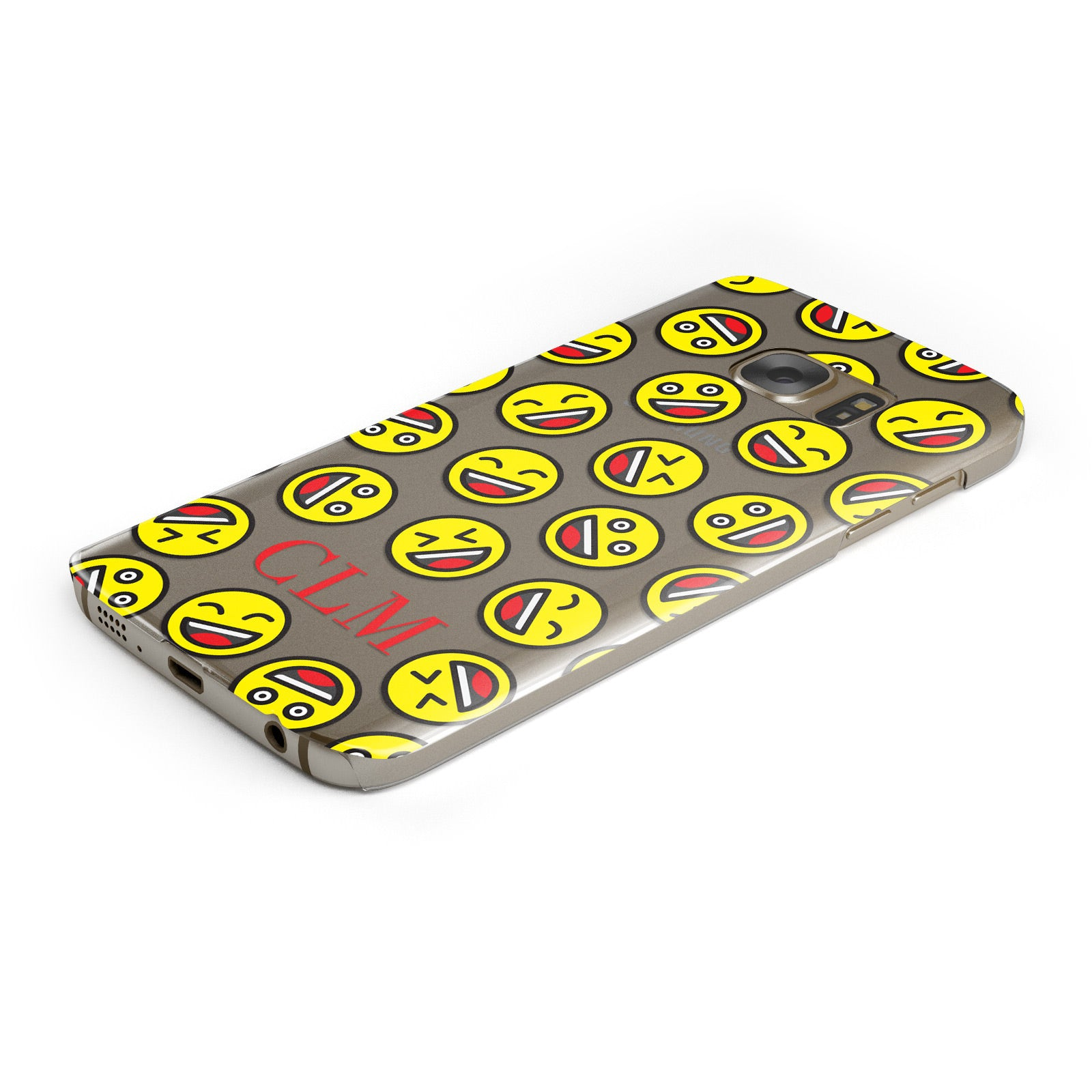 Personalised Emoji Initials Clear Samsung Galaxy Case Bottom Cutout