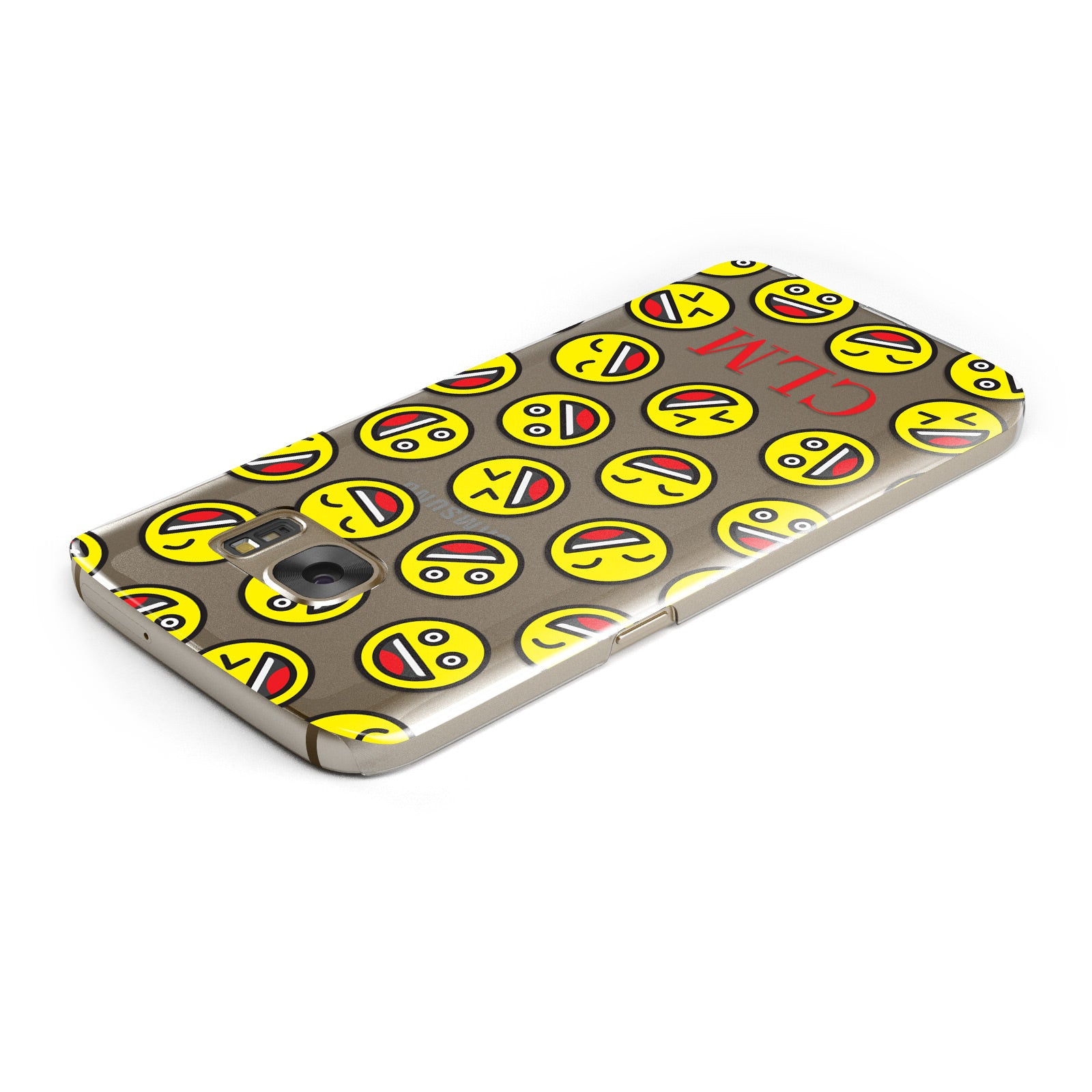 Personalised Emoji Initials Clear Samsung Galaxy Case Top Cutout