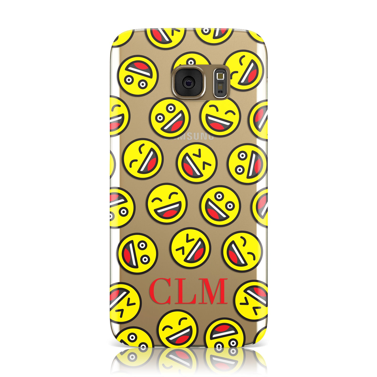 Personalised Emoji Initials Clear Samsung Galaxy Case