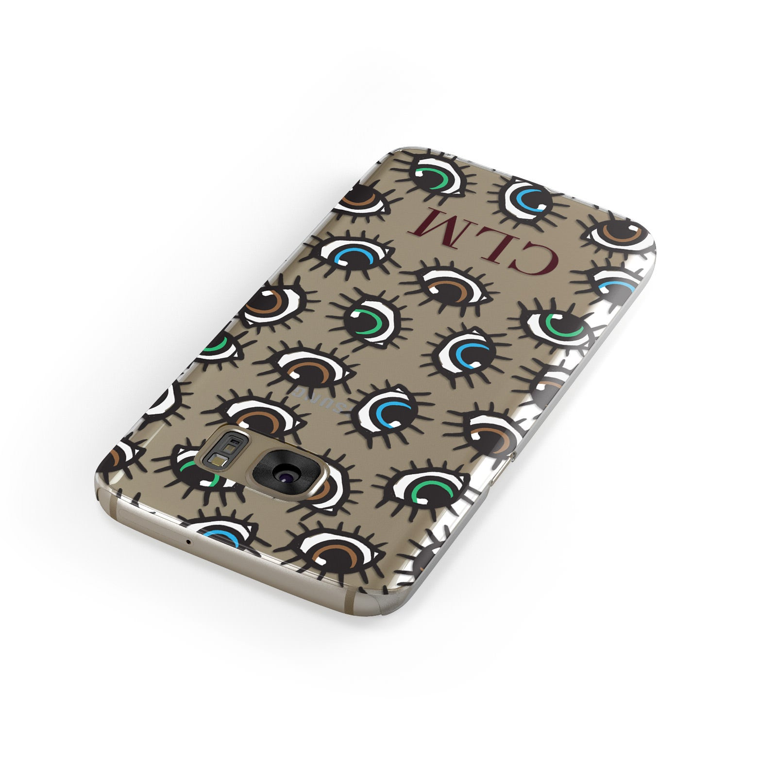 Personalised Eyes Initials Clear Samsung Galaxy Case Front Close Up