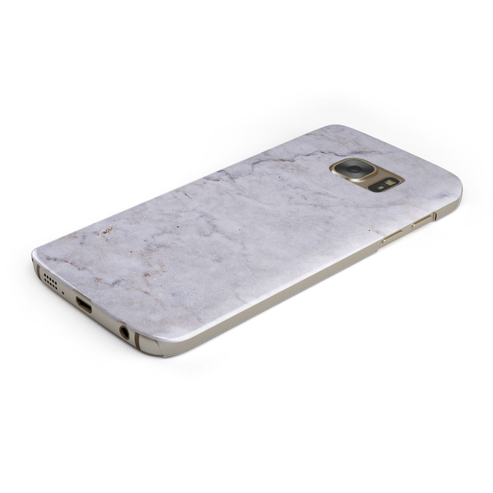 Faux Carrara Marble Print Grey Samsung Galaxy Case Bottom Cutout