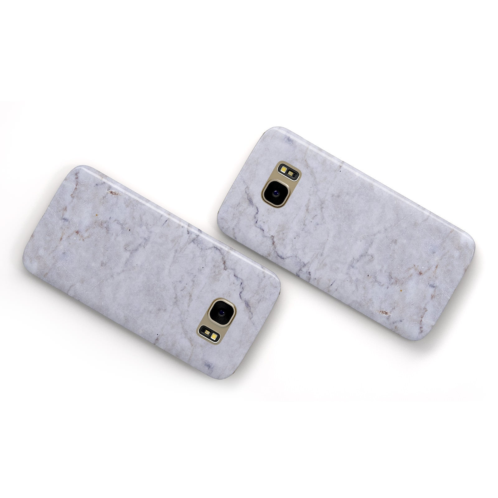 Faux Carrara Marble Print Grey Samsung Galaxy Case Flat Overview