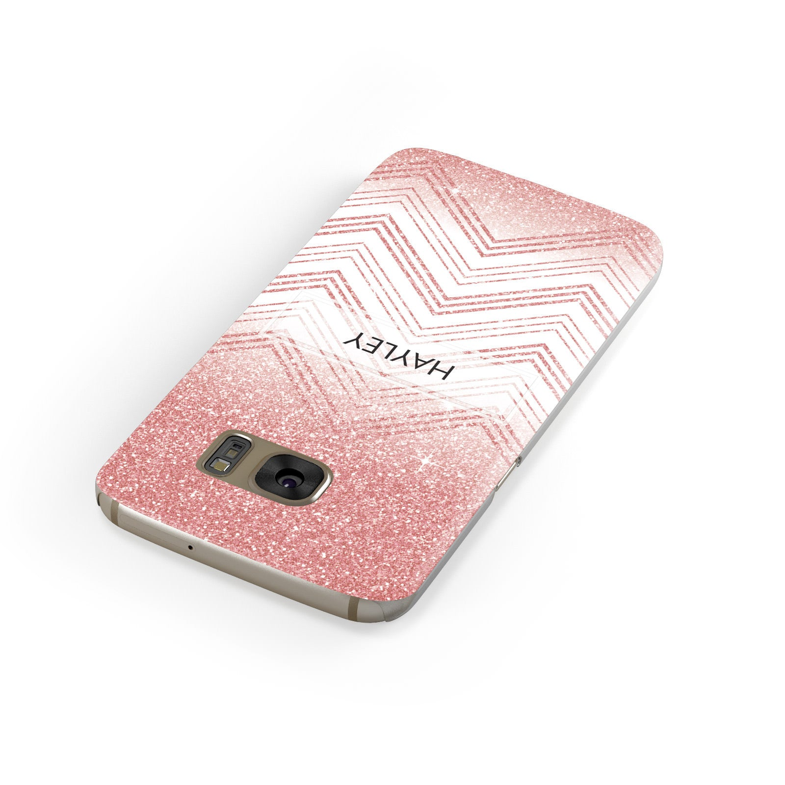 Personalised Faux Glitter Effect Name Initials Samsung Galaxy Case Front Close Up