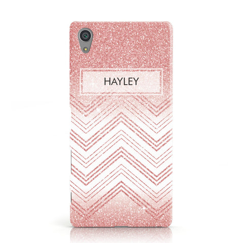 Personalised Faux Glitter Effect Name Initials Sony Xperia Case