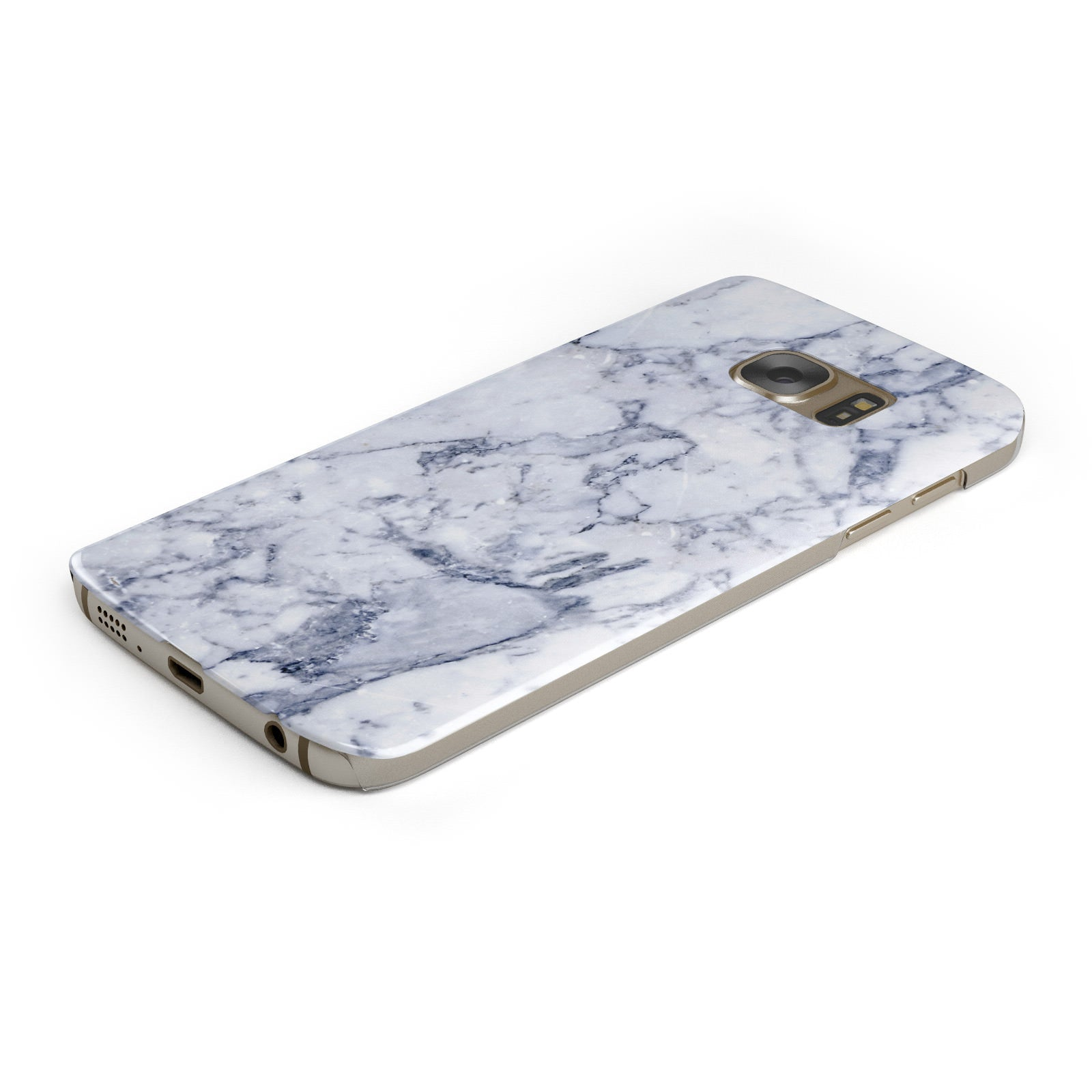 Faux Marble Blue Grey White Samsung Galaxy Case Bottom Cutout