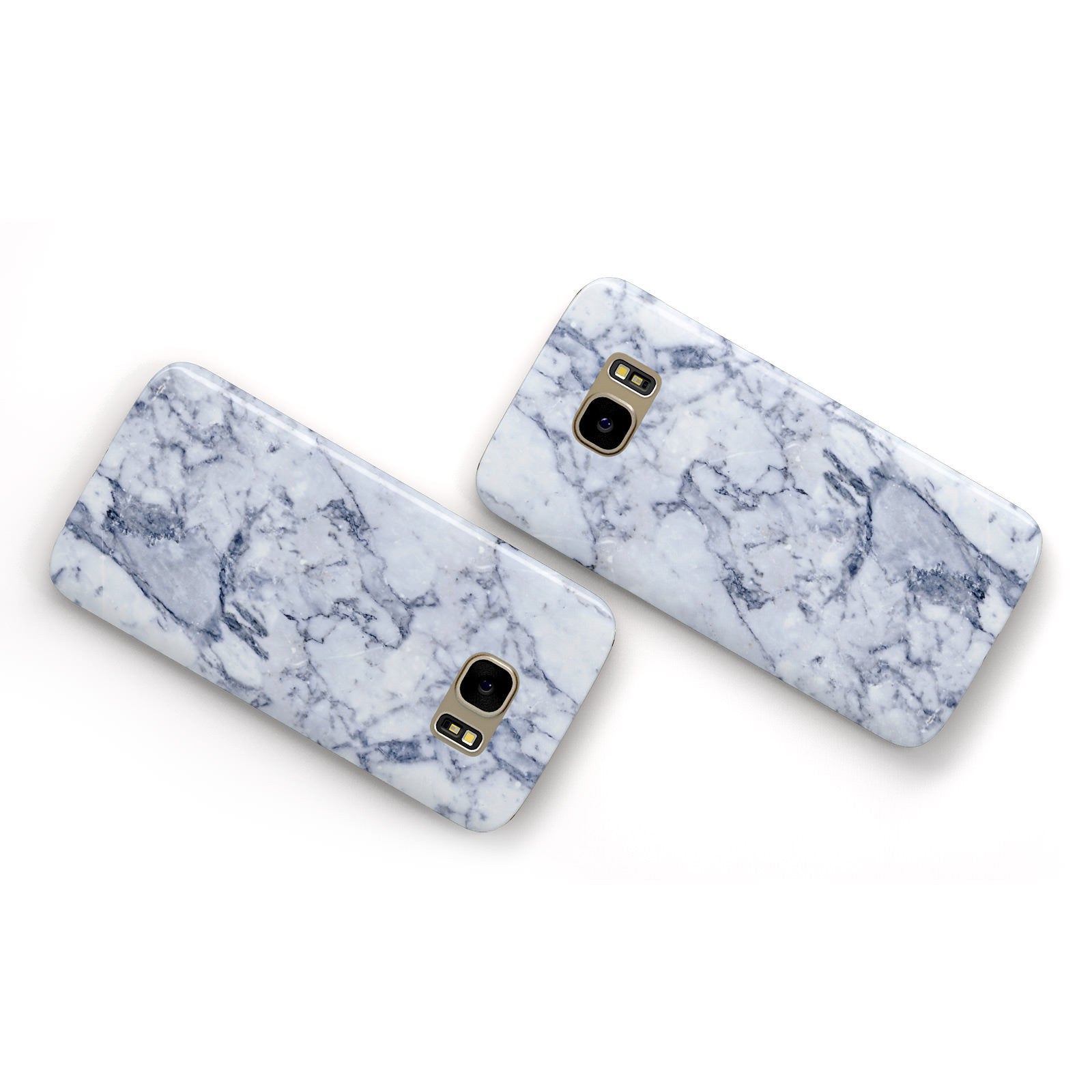 Faux Marble Blue Grey White Samsung Galaxy Case Flat Overview