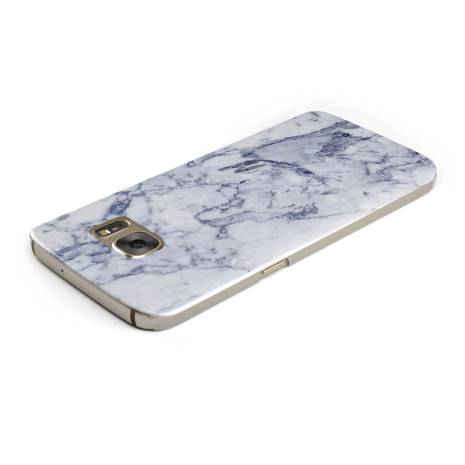 Faux Marble Blue Grey White Samsung Galaxy Case Top Cutout