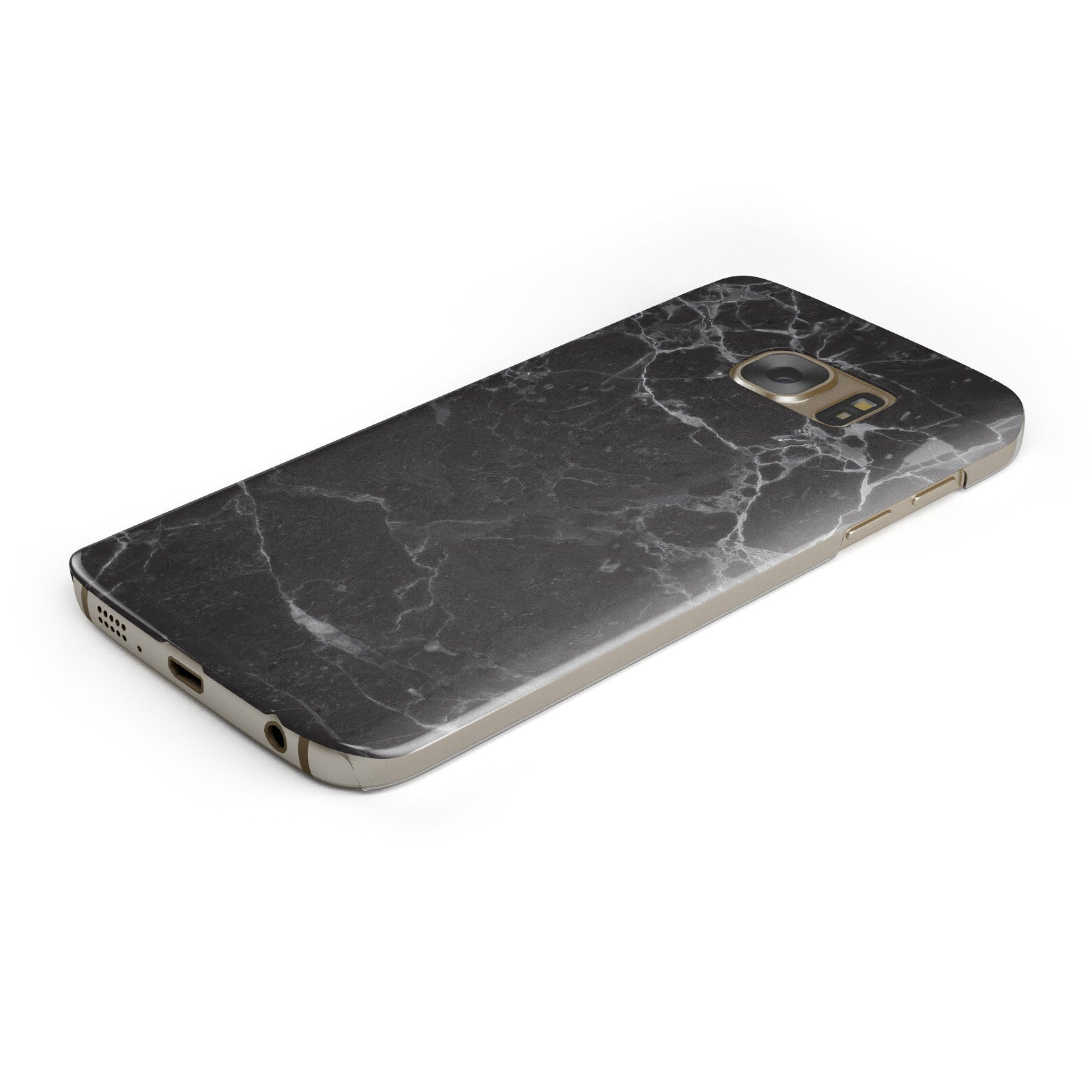 Faux Marble Effect Black Samsung Galaxy Case Bottom Cutout
