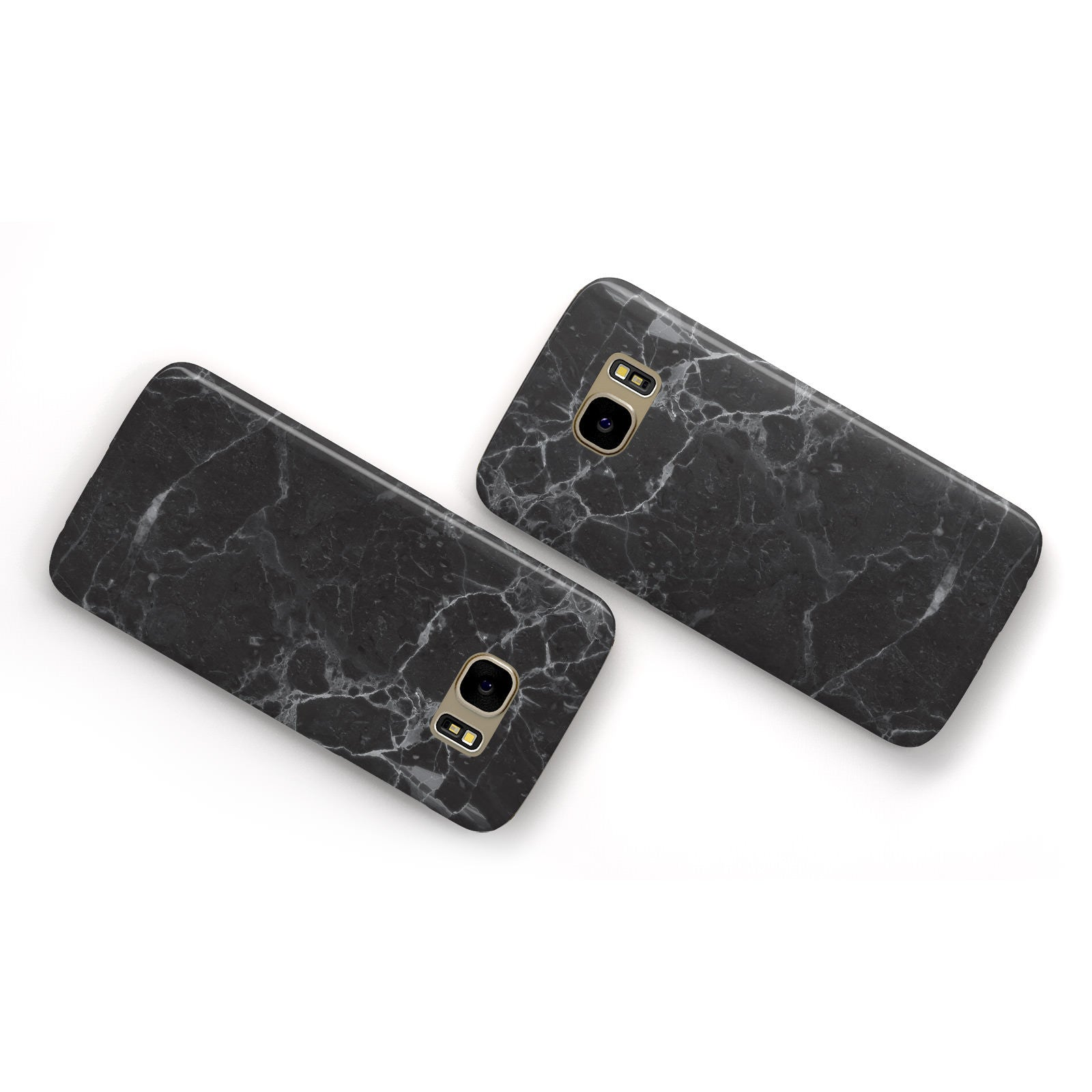 Faux Marble Effect Black Samsung Galaxy Case Flat Overview