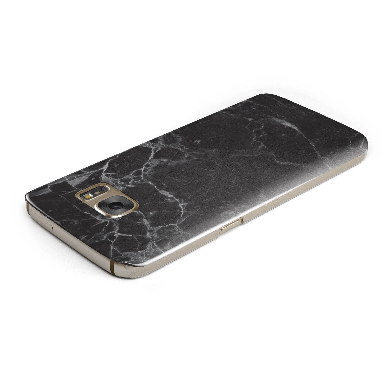 Faux Marble Effect Black Samsung Galaxy Case Top Cutout