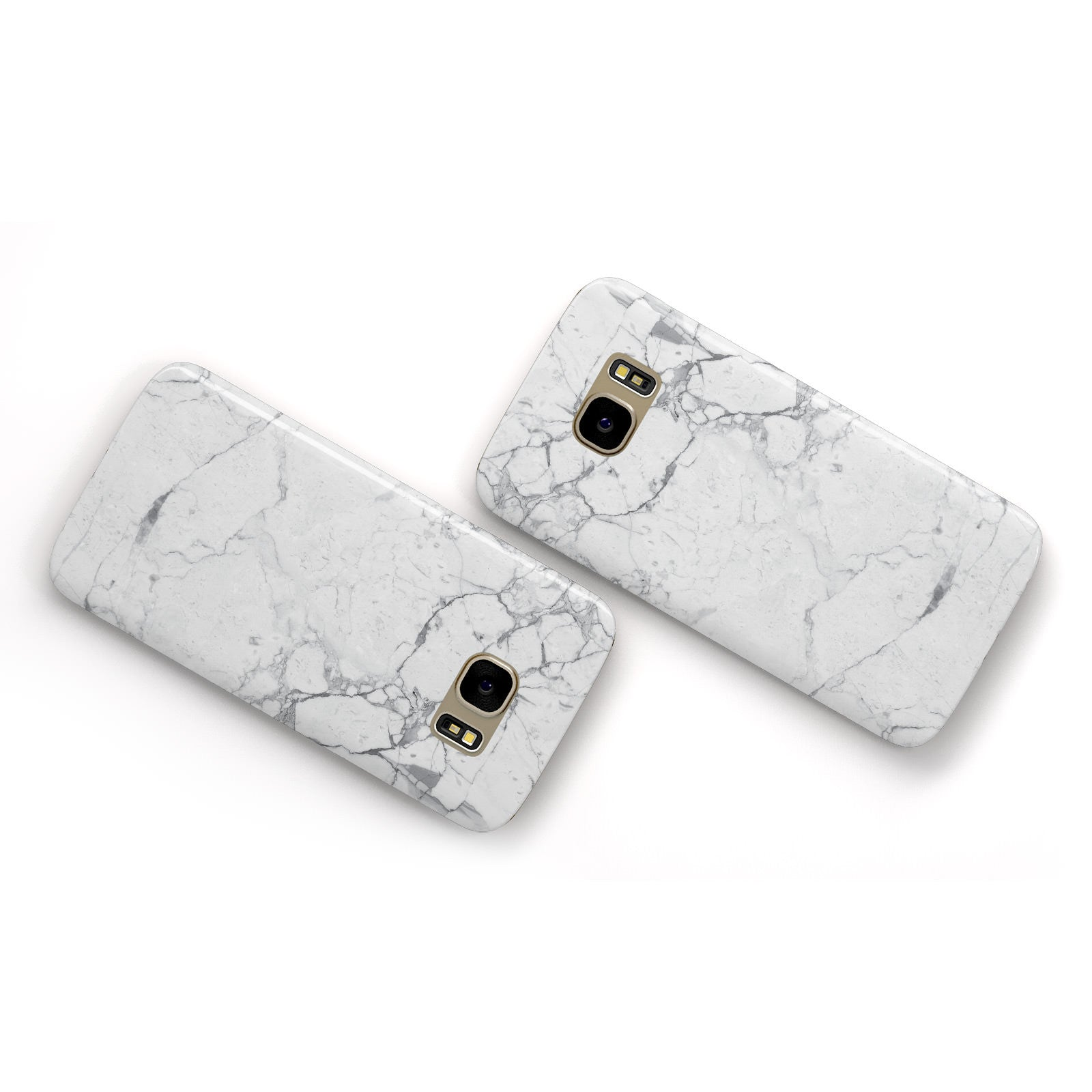 Faux Marble Effect Grey White Samsung Galaxy Case Flat Overview