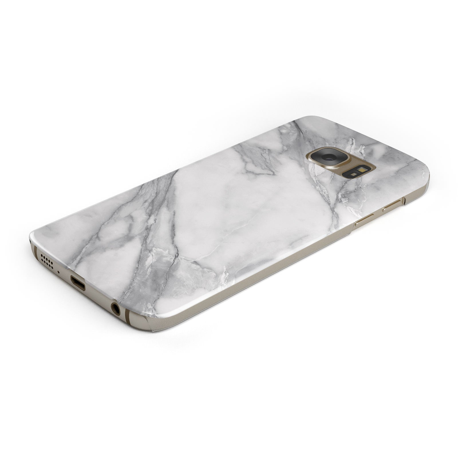 Faux Marble Effect White Grey Samsung Galaxy Case Bottom Cutout