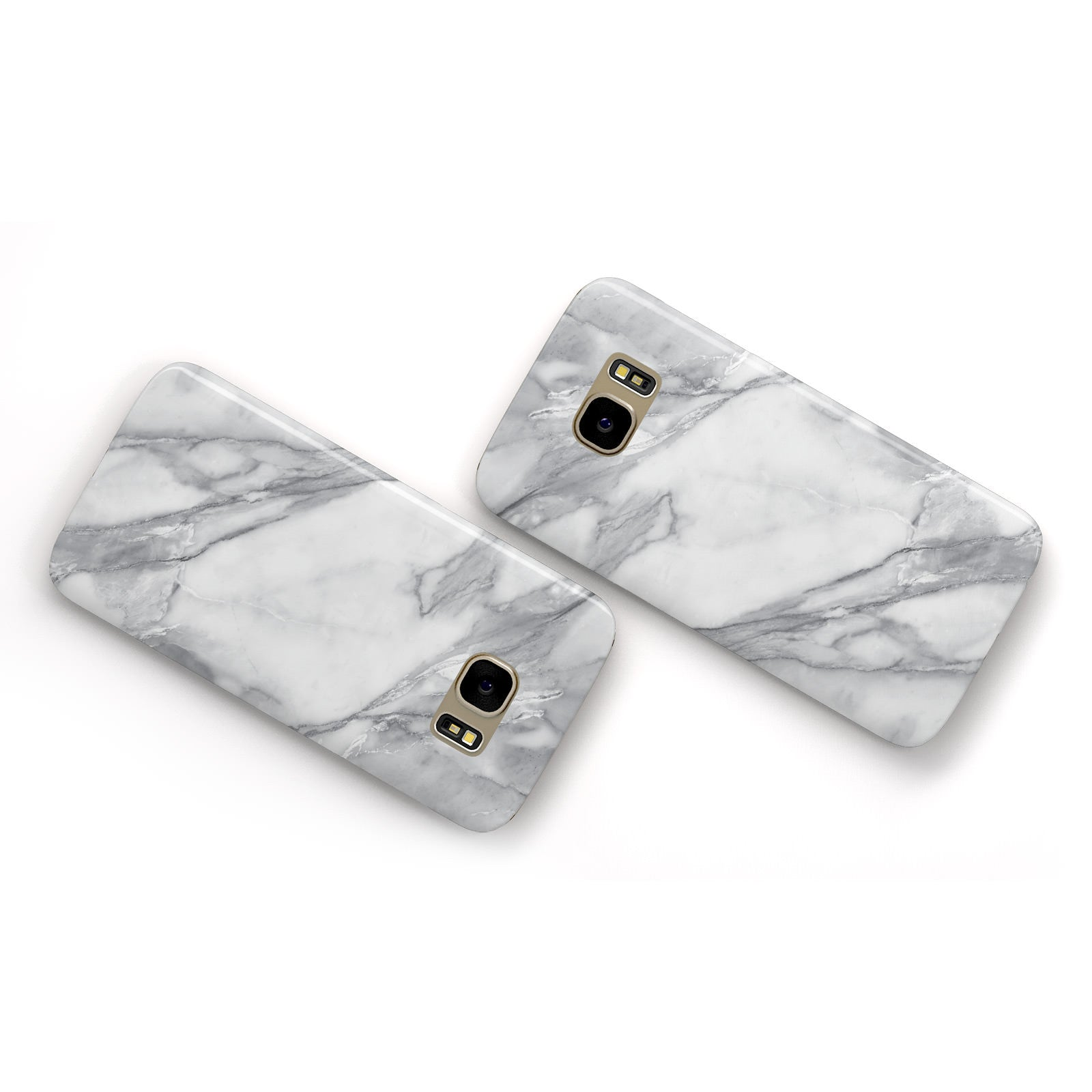 Faux Marble Effect White Grey Samsung Galaxy Case Flat Overview