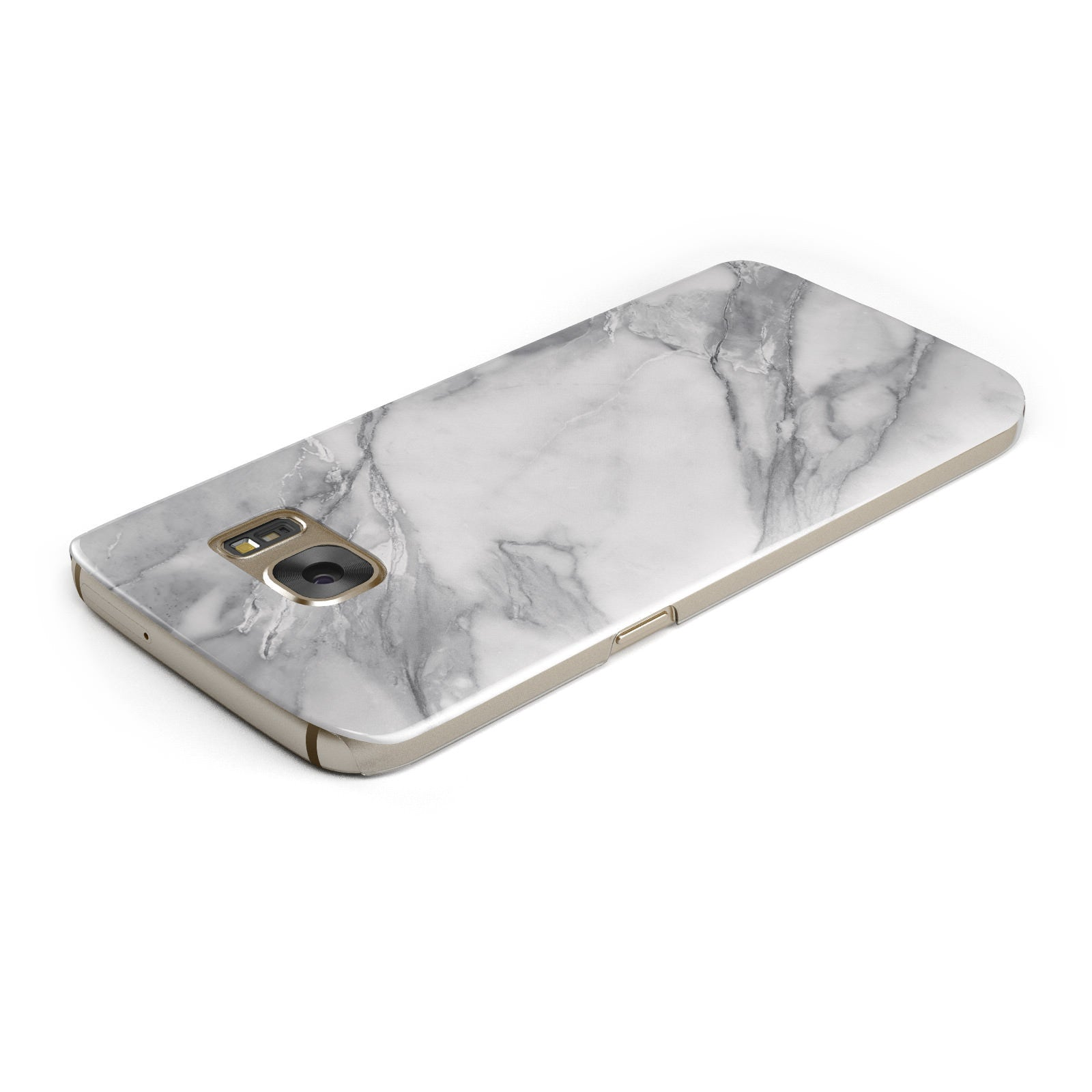 Faux Marble Effect White Grey Samsung Galaxy Case Top Cutout