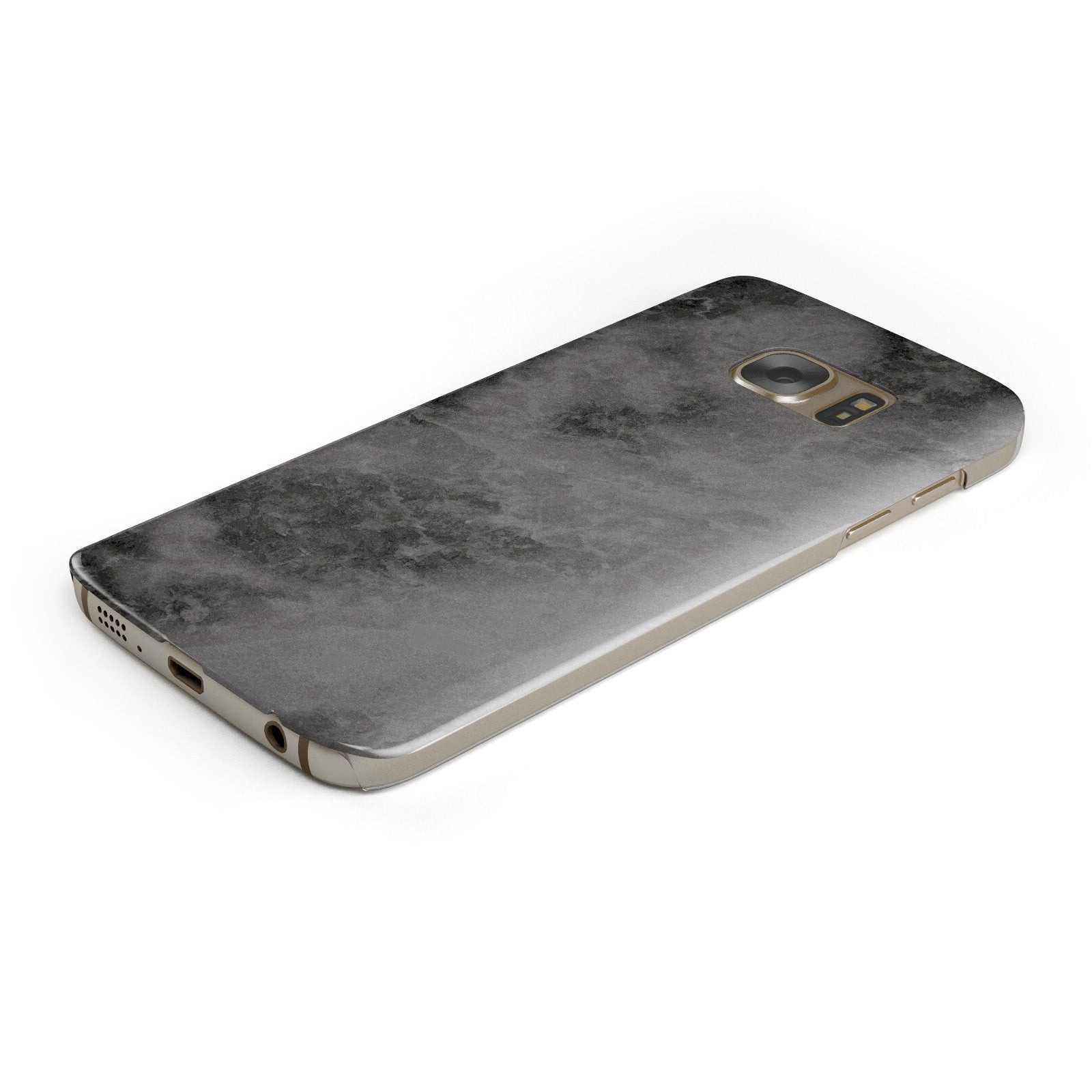 Faux Marble Grey Black Samsung Galaxy Case Bottom Cutout