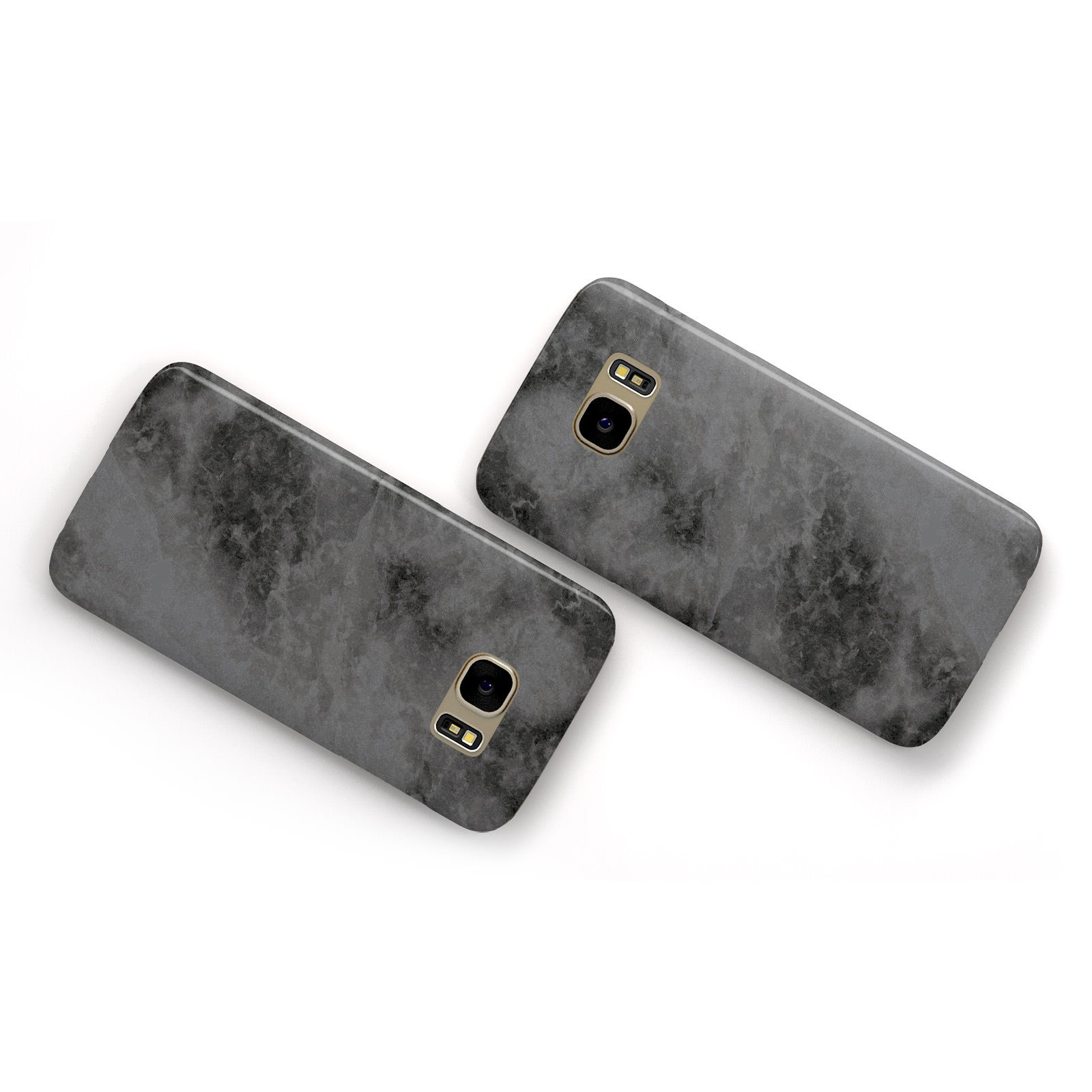 Faux Marble Grey Black Samsung Galaxy Case Flat Overview