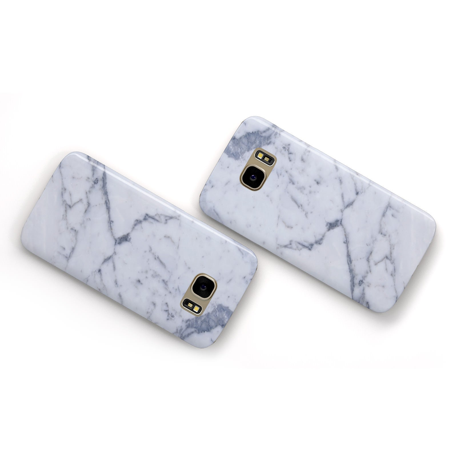 Faux Marble Grey White Samsung Galaxy Case Flat Overview