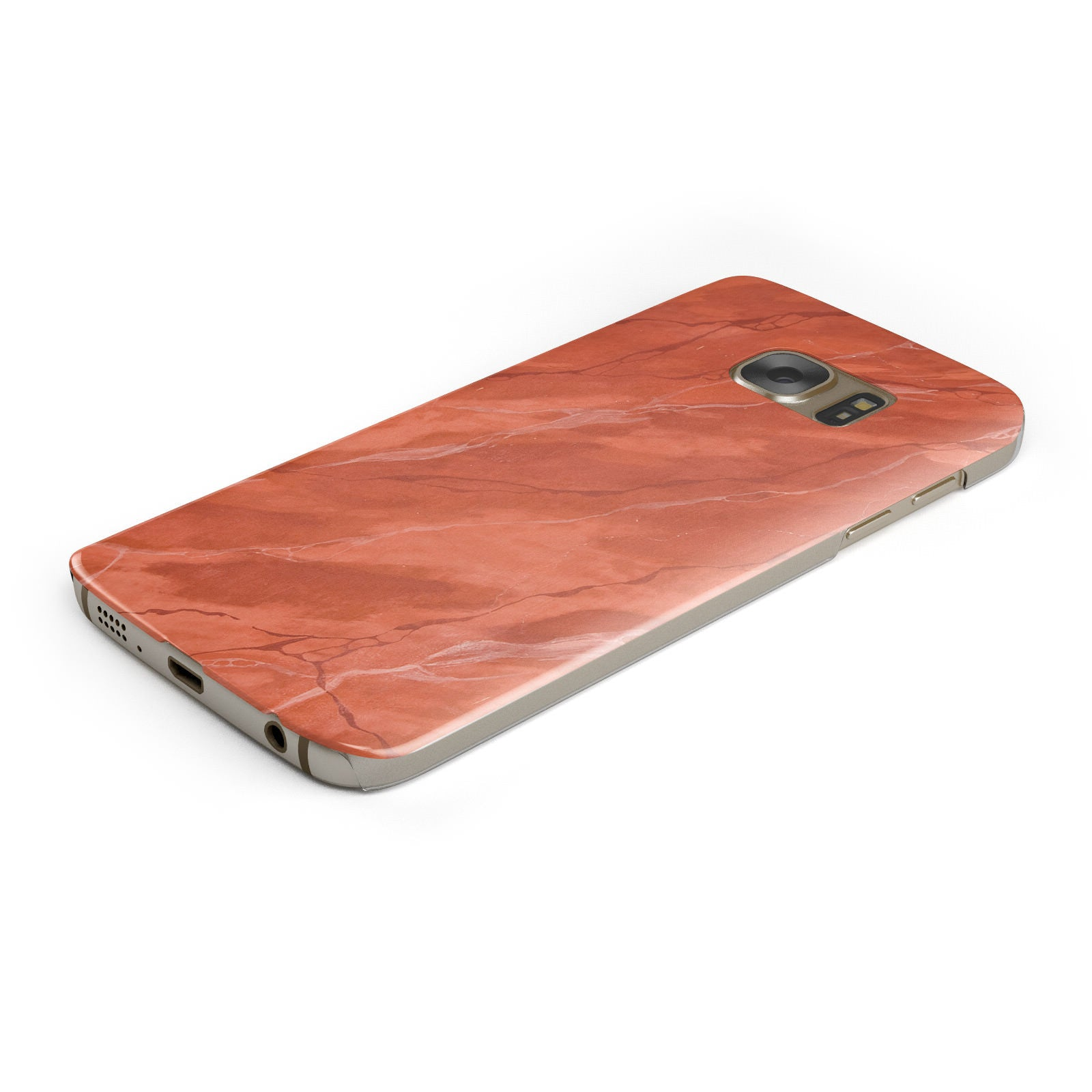 Faux Marble Red Orange Samsung Galaxy Case Bottom Cutout