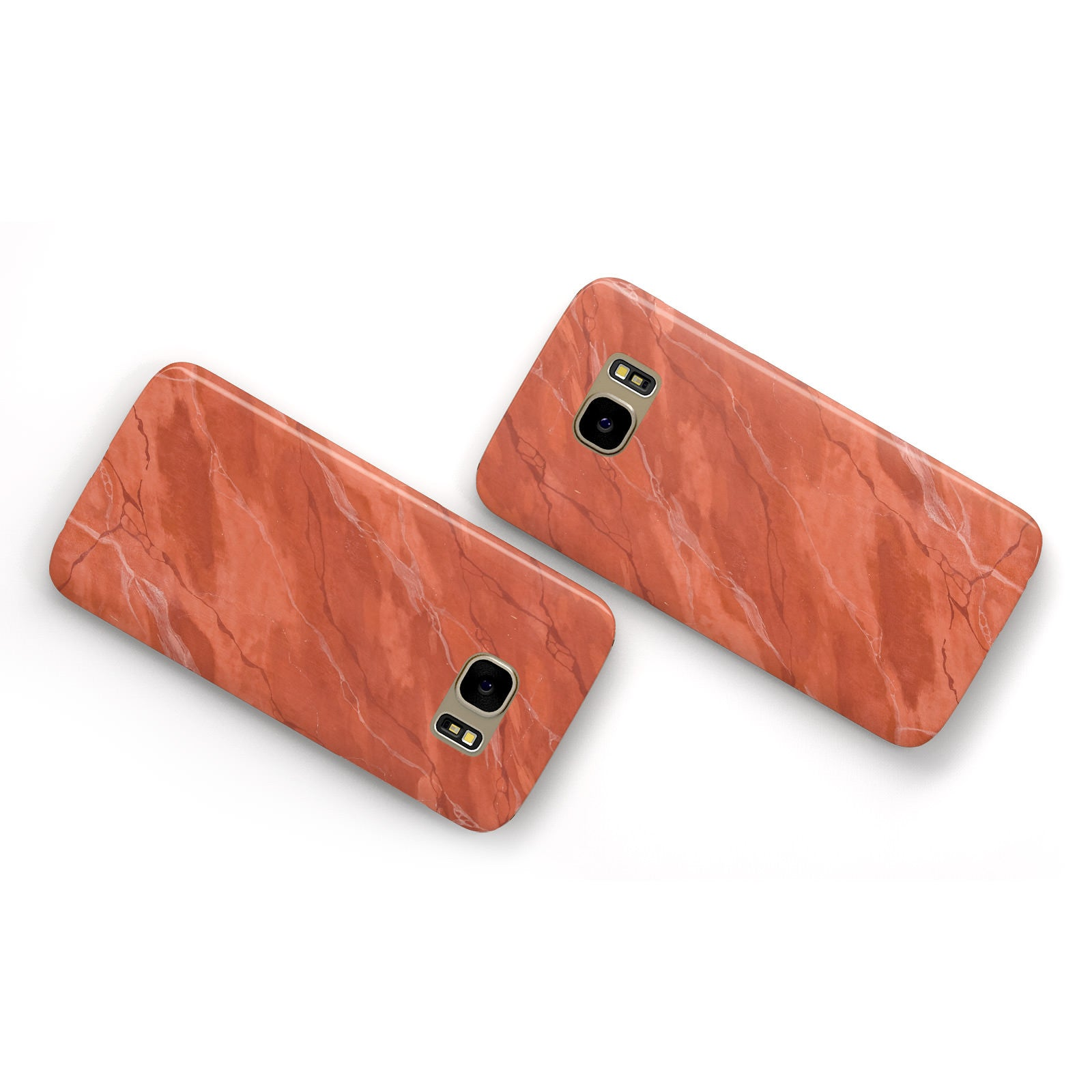 Faux Marble Red Orange Samsung Galaxy Case Flat Overview