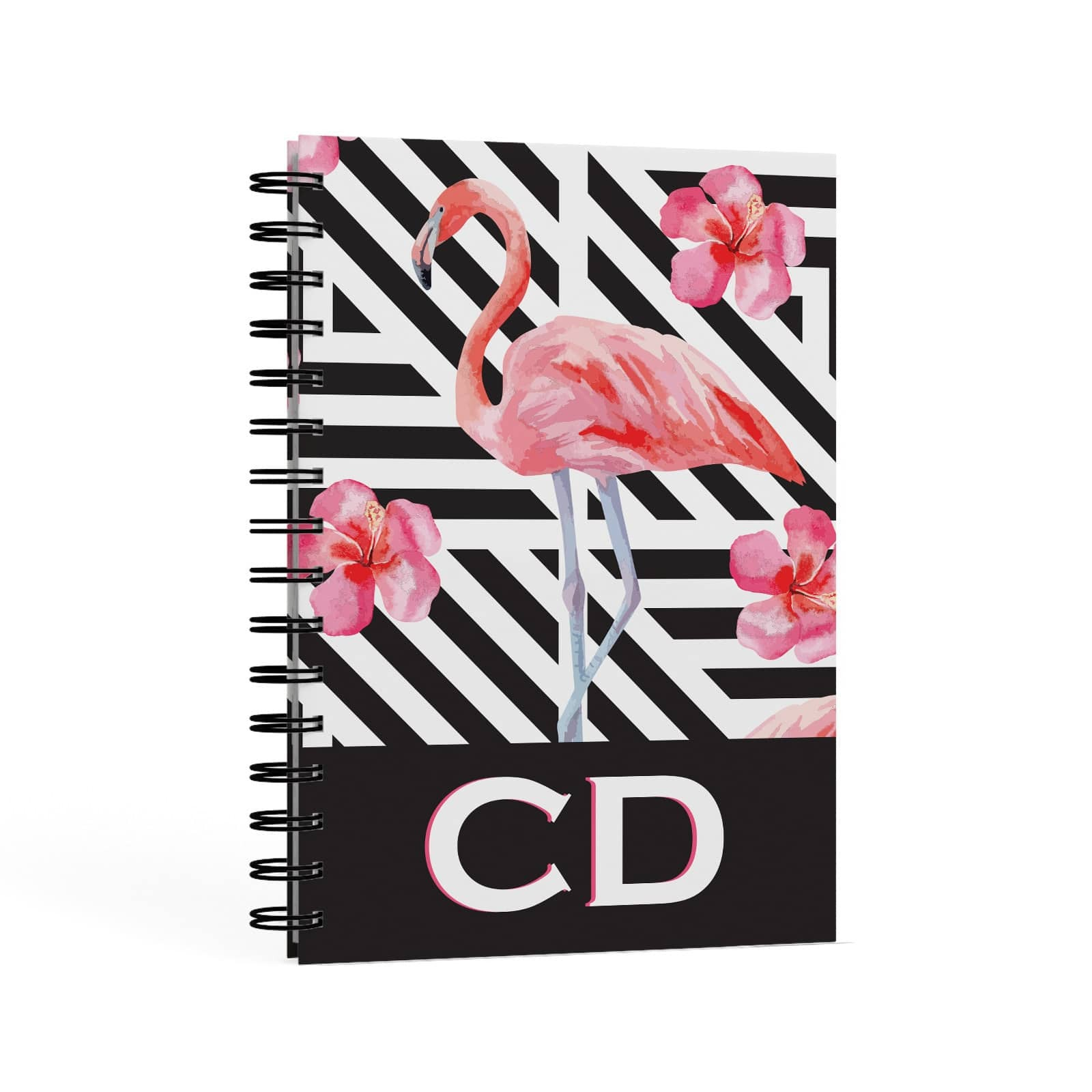 Flamingo Black Geometric A5 Hardcover Notebook Second Side View