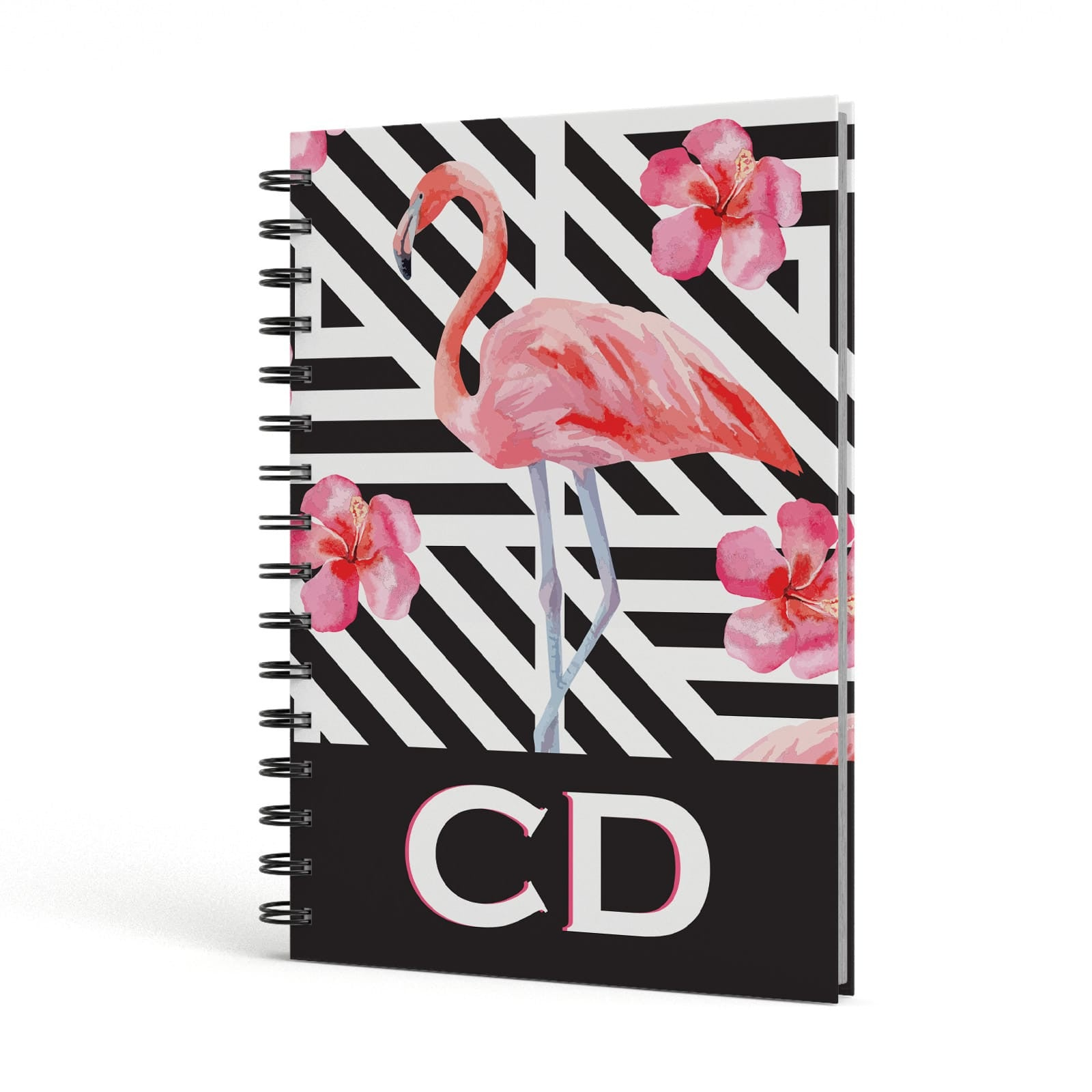 Flamingo Black Geometric A5 Hardcover Notebook Side View