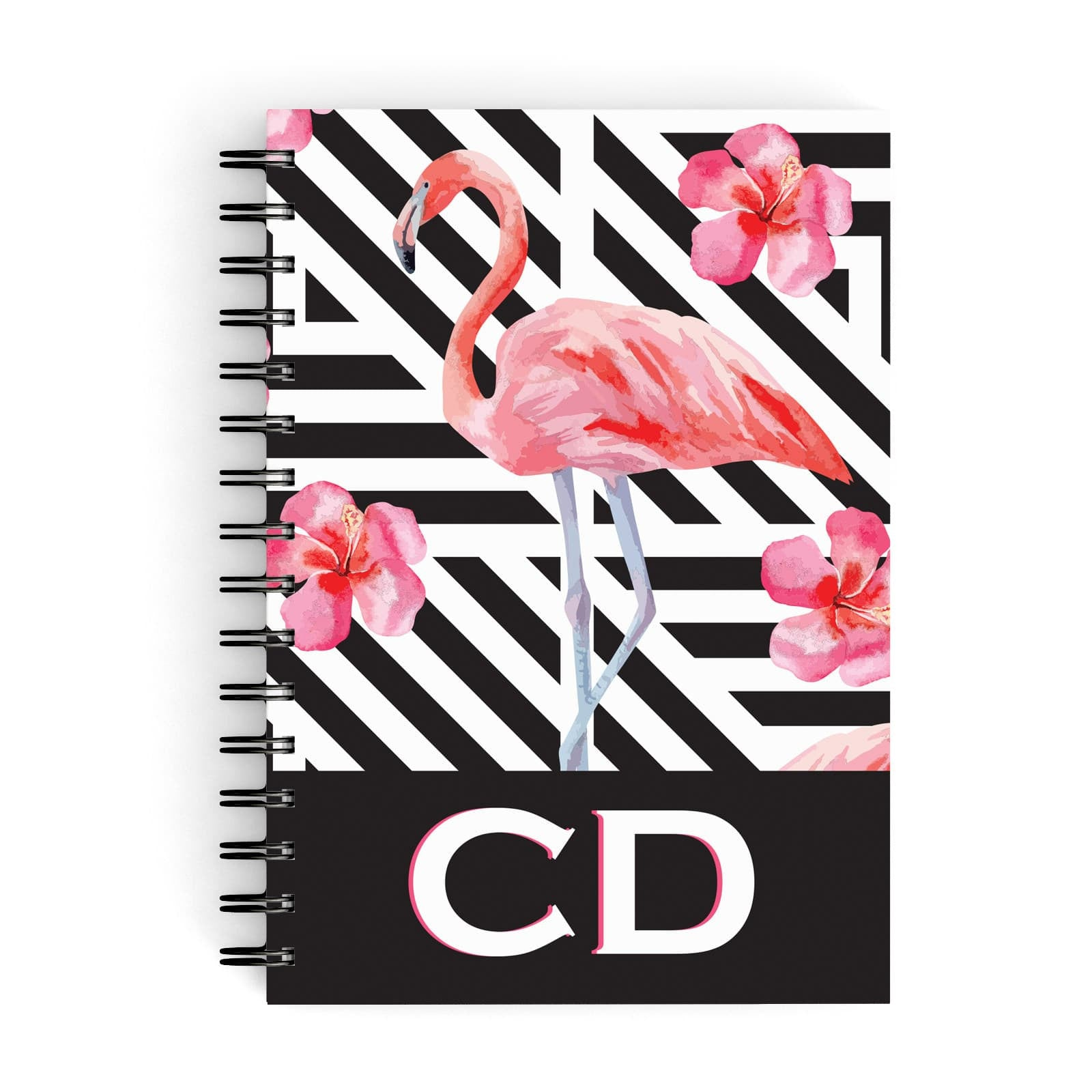 Flamingo Black Geometric A5 Hardcover Notebook