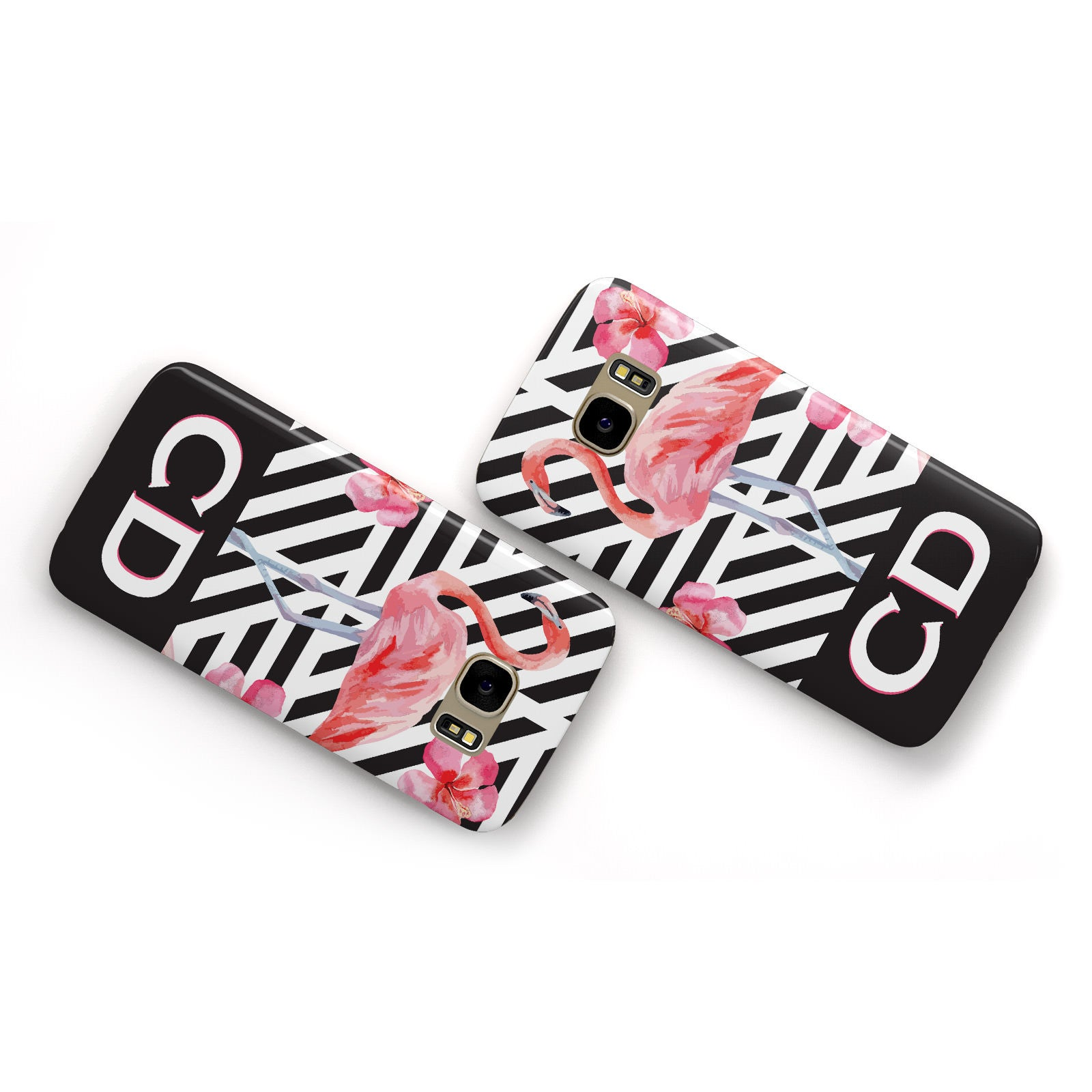 Flamingo Black Geometric Samsung Galaxy Case Flat Overview