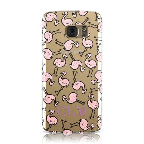 Personalised Flamingo Initials Clear Samsung Galaxy Case