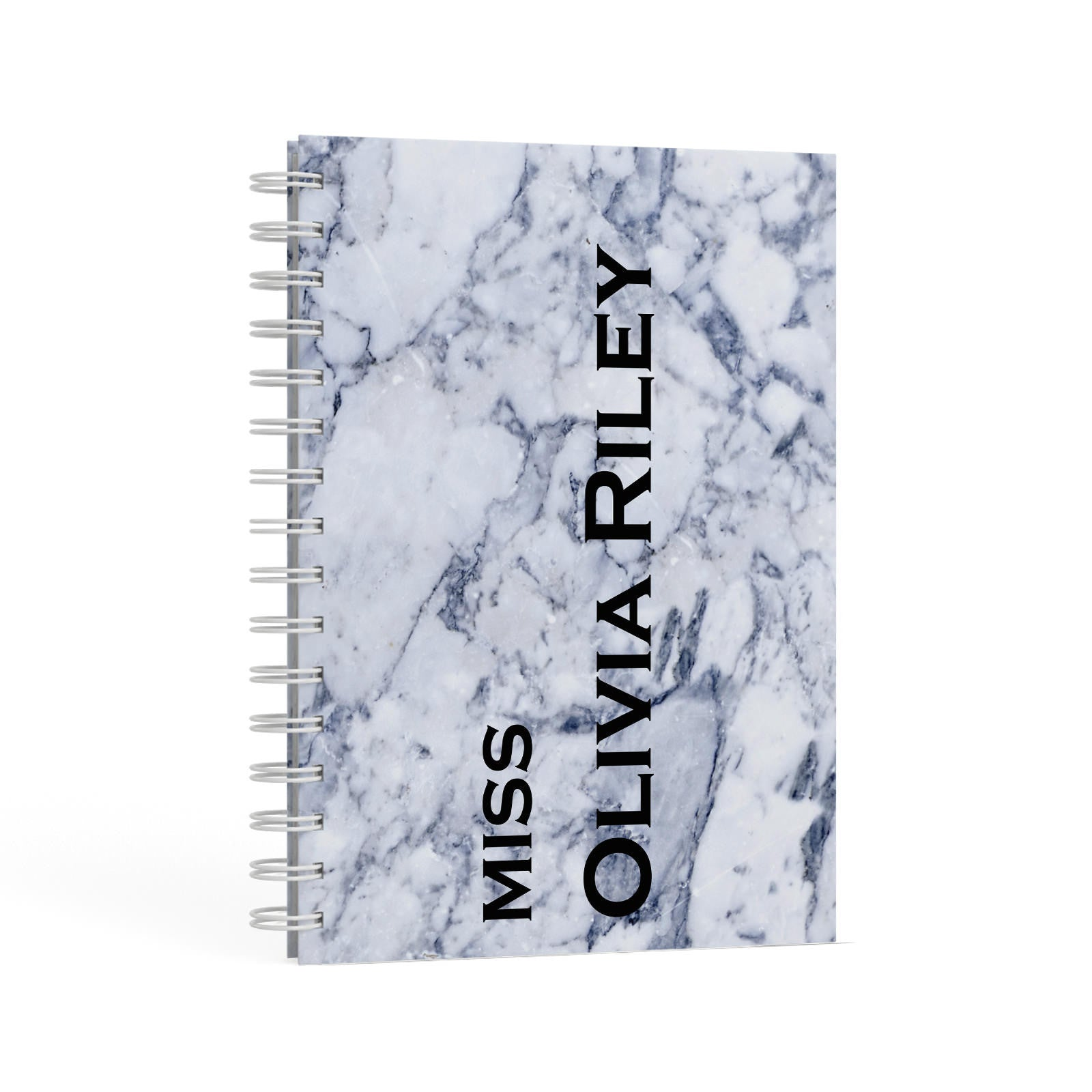 Full Name Grey Marble A5 Hardcover Notebook Second Side View