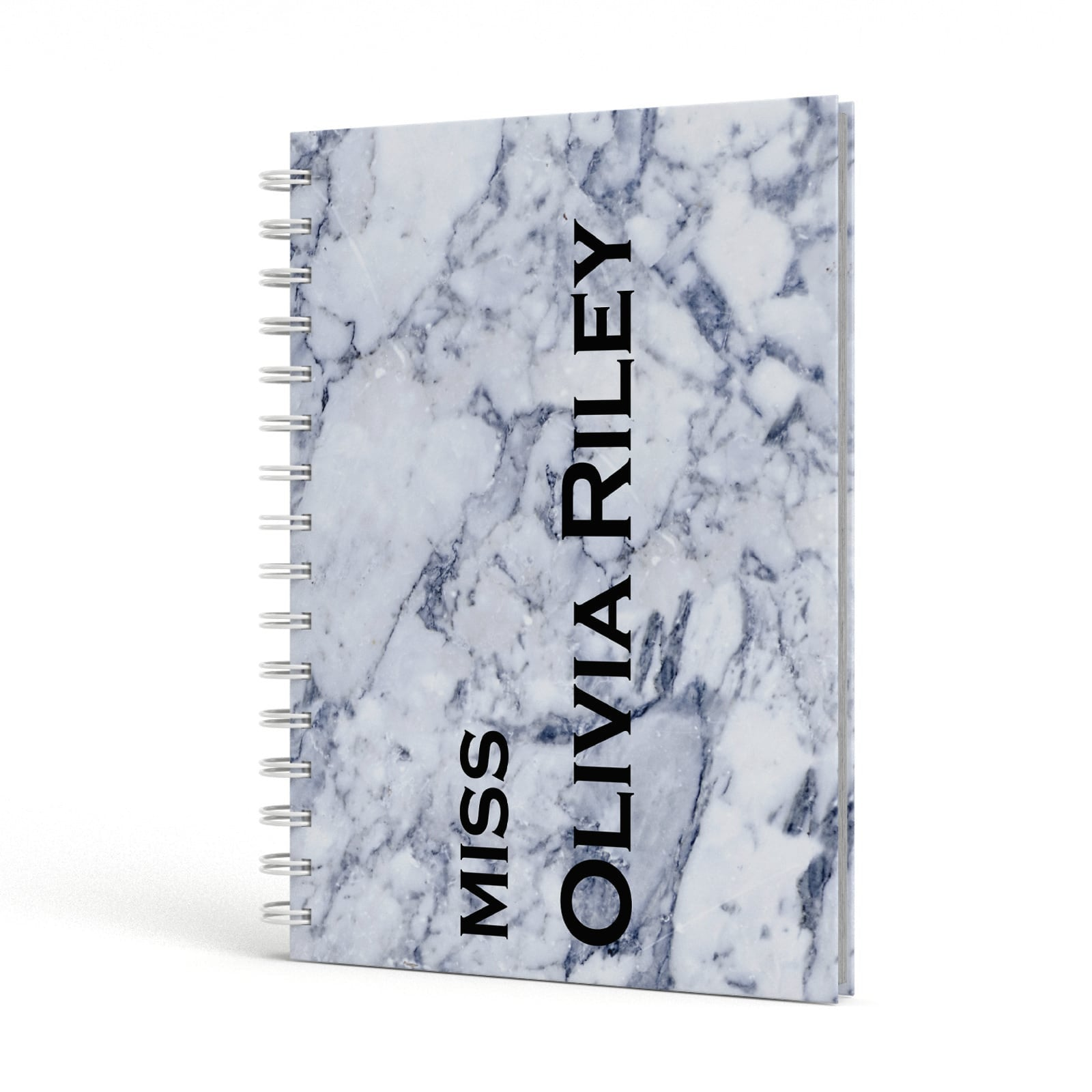 Full Name Grey Marble A5 Hardcover Notebook Side View