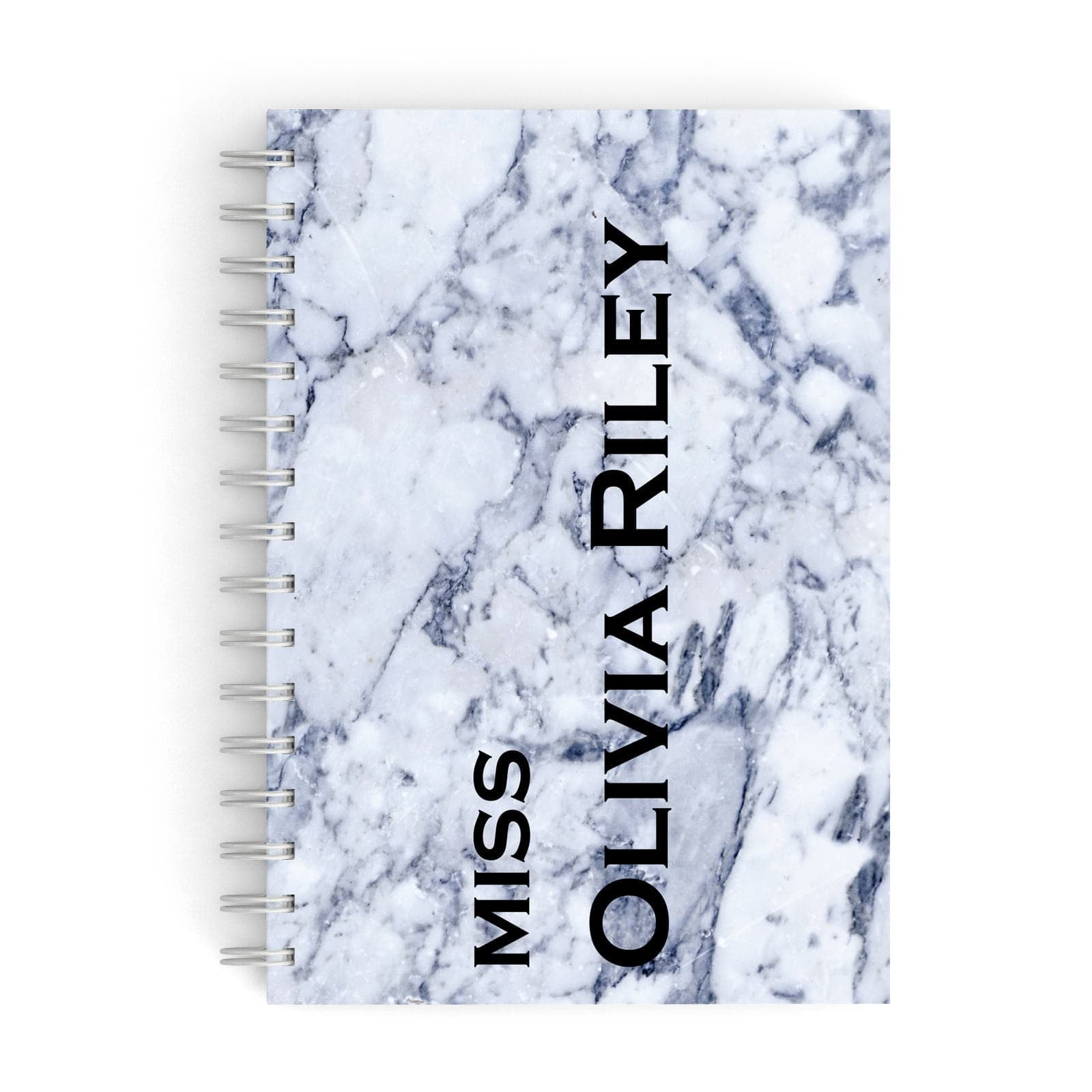 Full Name Grey Marble A5 Hardcover Notebook