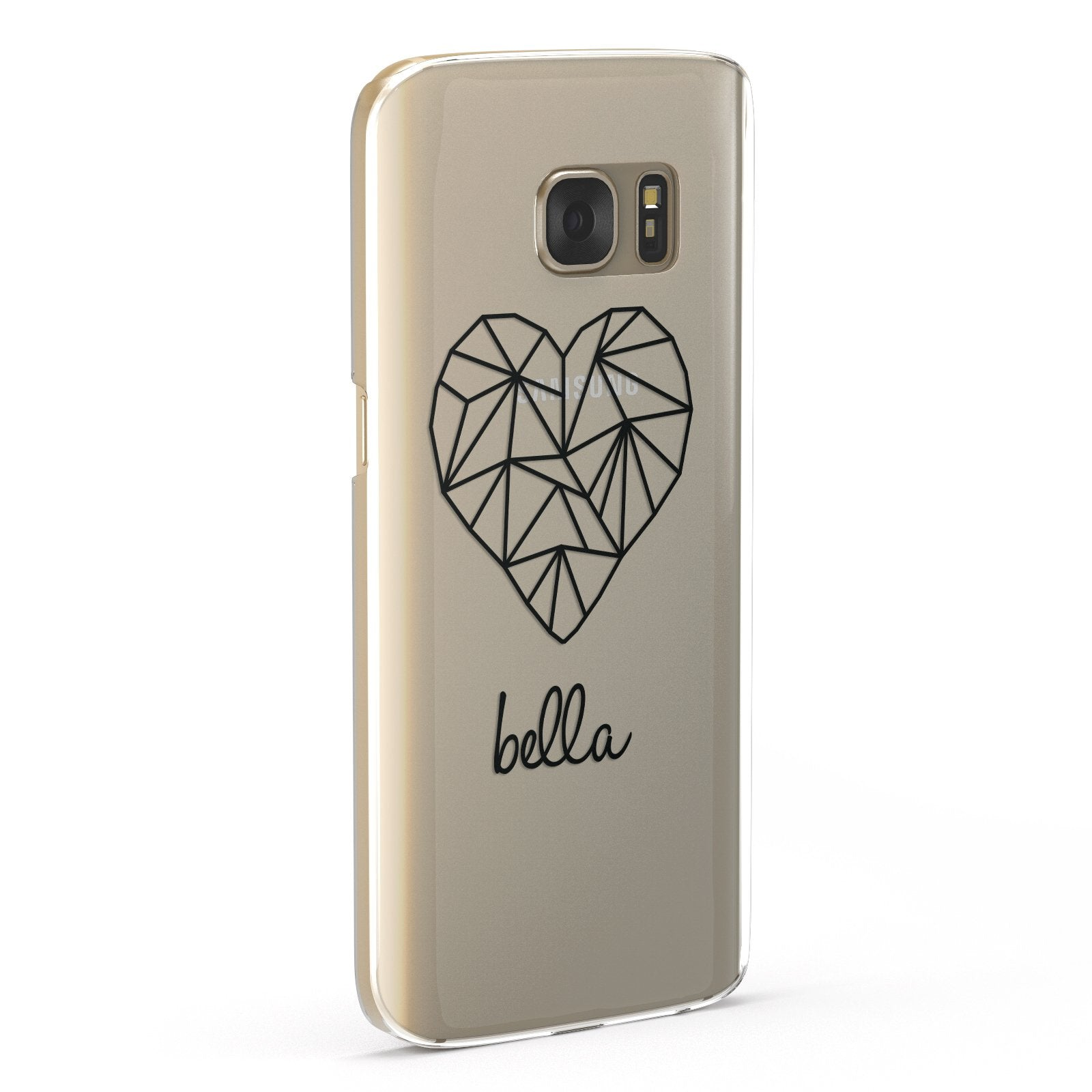 Personalised Geometric Heart & Name Black Samsung Galaxy Case Fourty Five Degrees