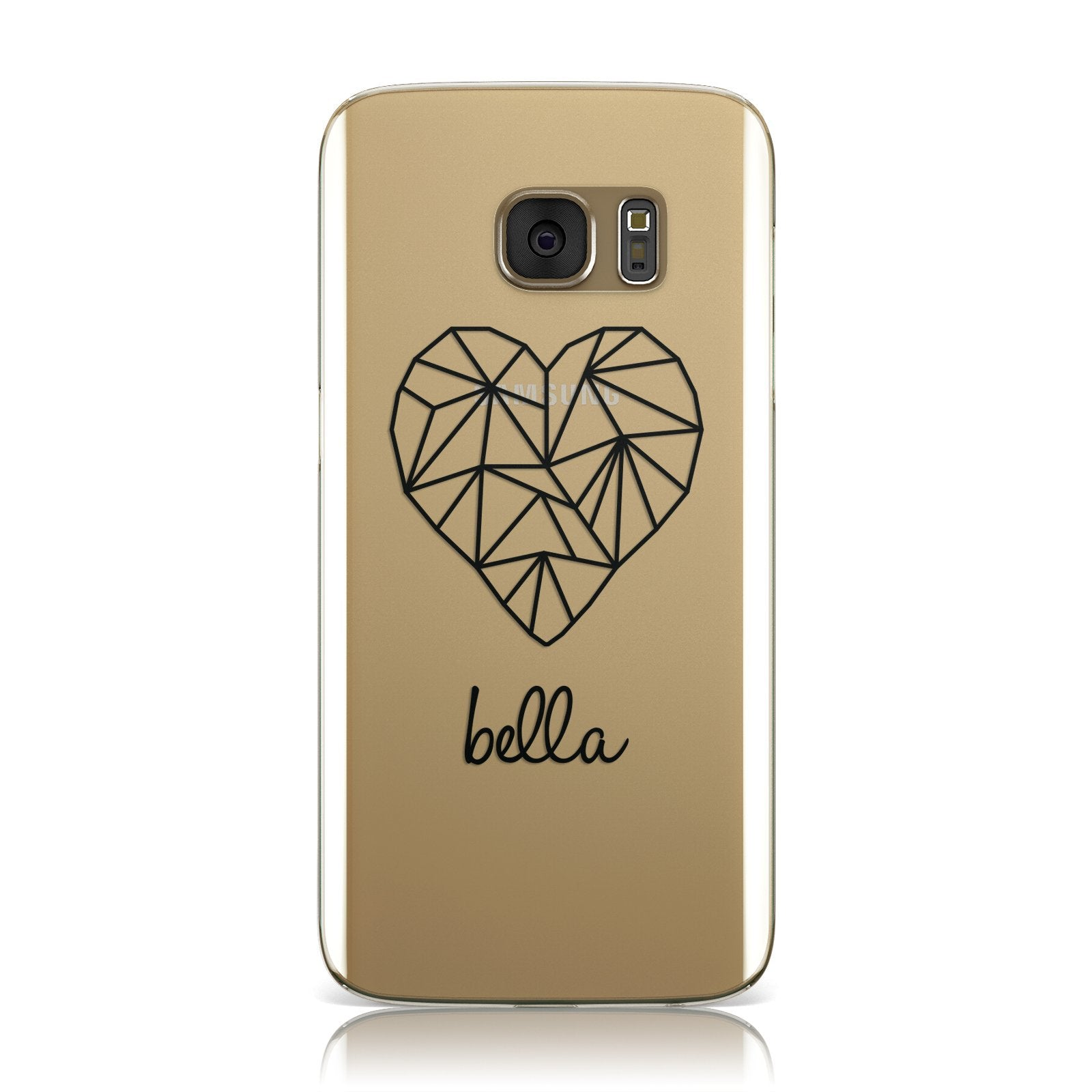 Personalised Geometric Heart & Name Black Samsung Galaxy Case