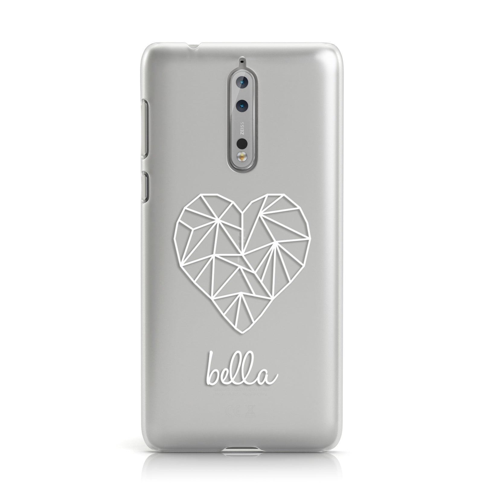 Personalised Geometric White Heart & Name Clear Nokia Case