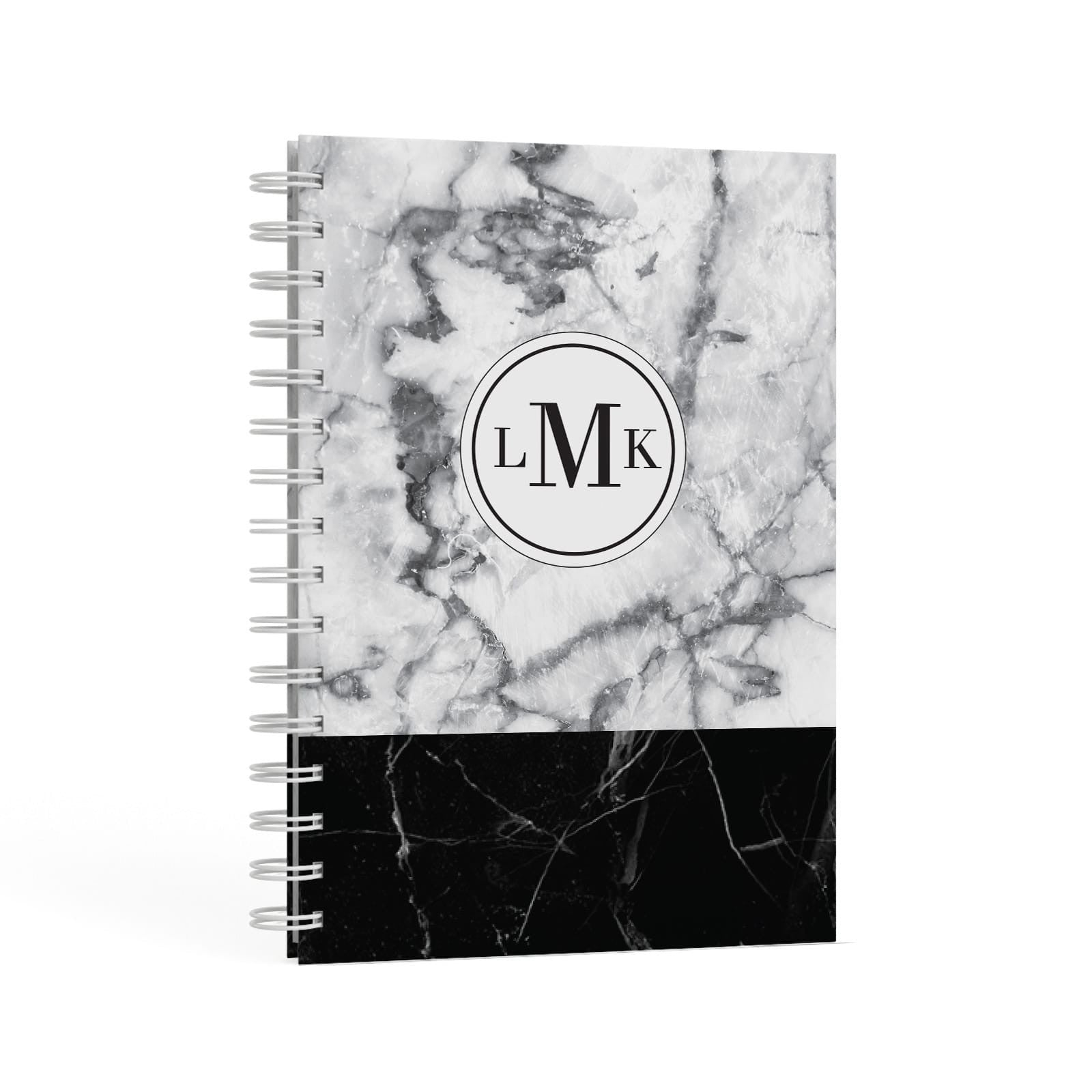 Geometric Marble Initials Personalised A5 Hardcover Notebook Second Side View
