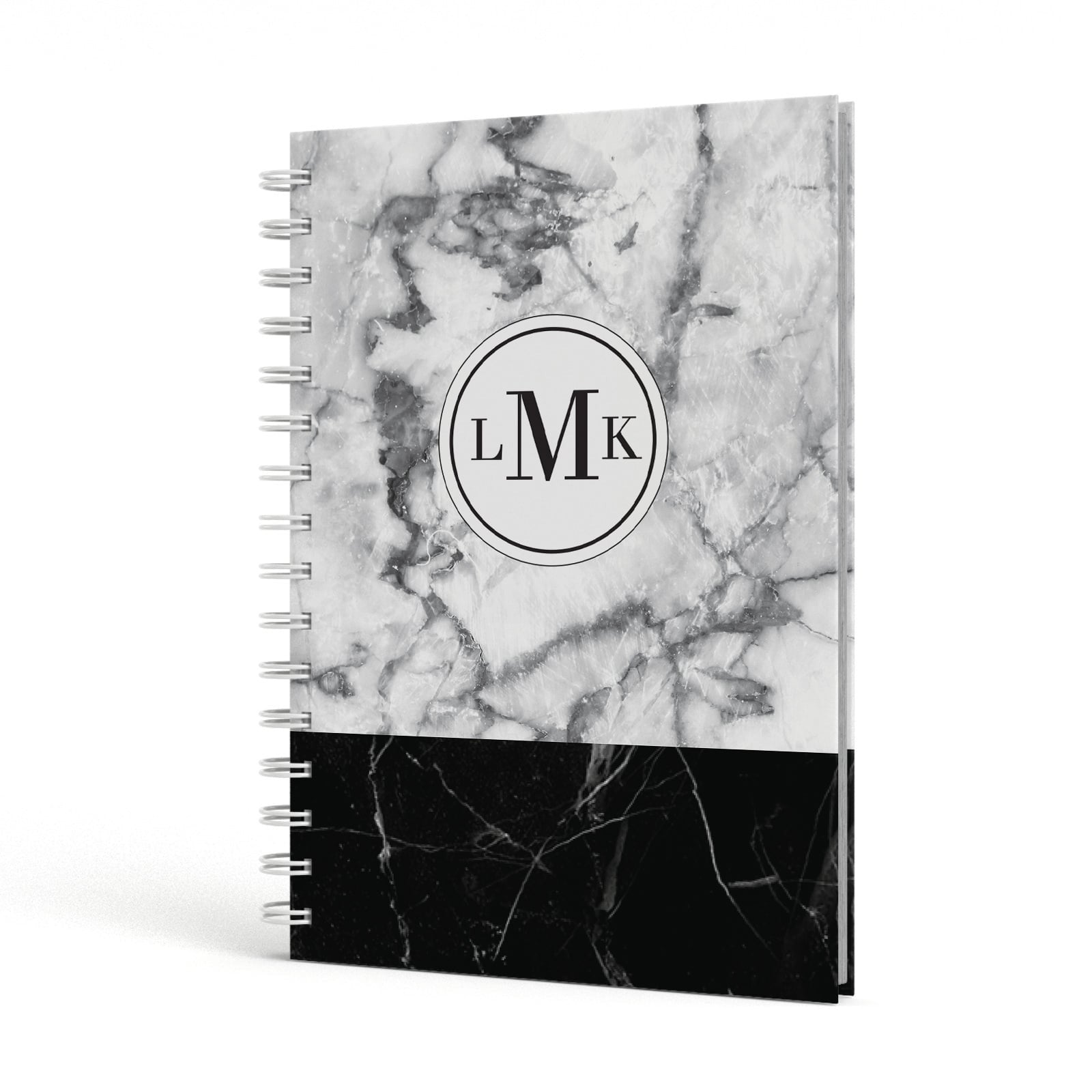 Geometric Marble Initials Personalised A5 Hardcover Notebook Side View