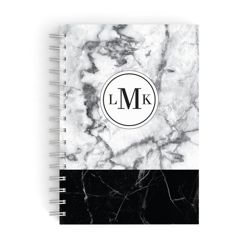 Geometric Marble Initials Personalised A5 Hardcover Notebook