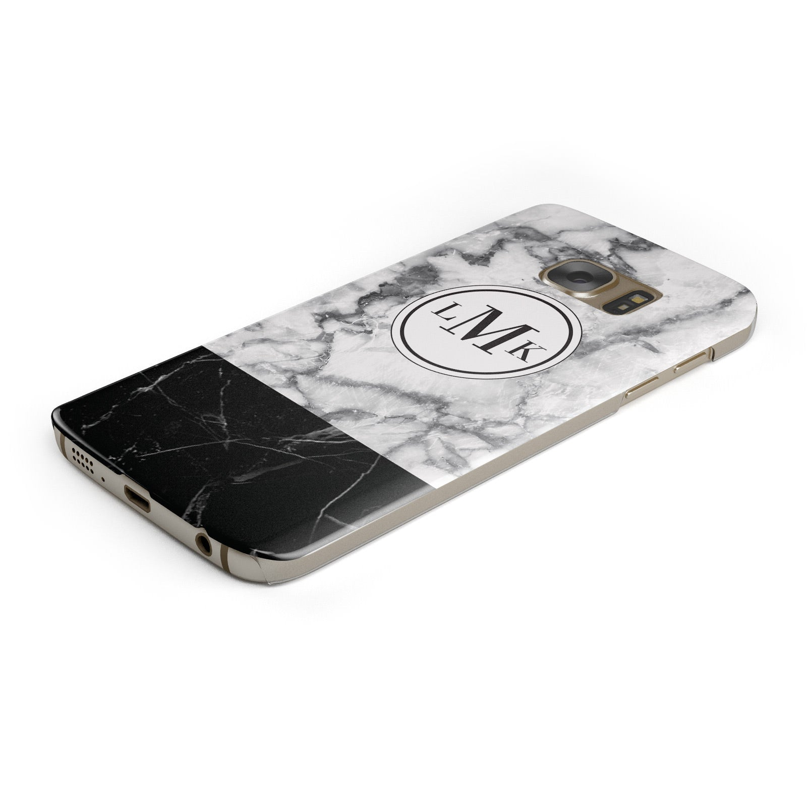 Geometric Marble Initials Personalised Samsung Galaxy Case Bottom Cutout