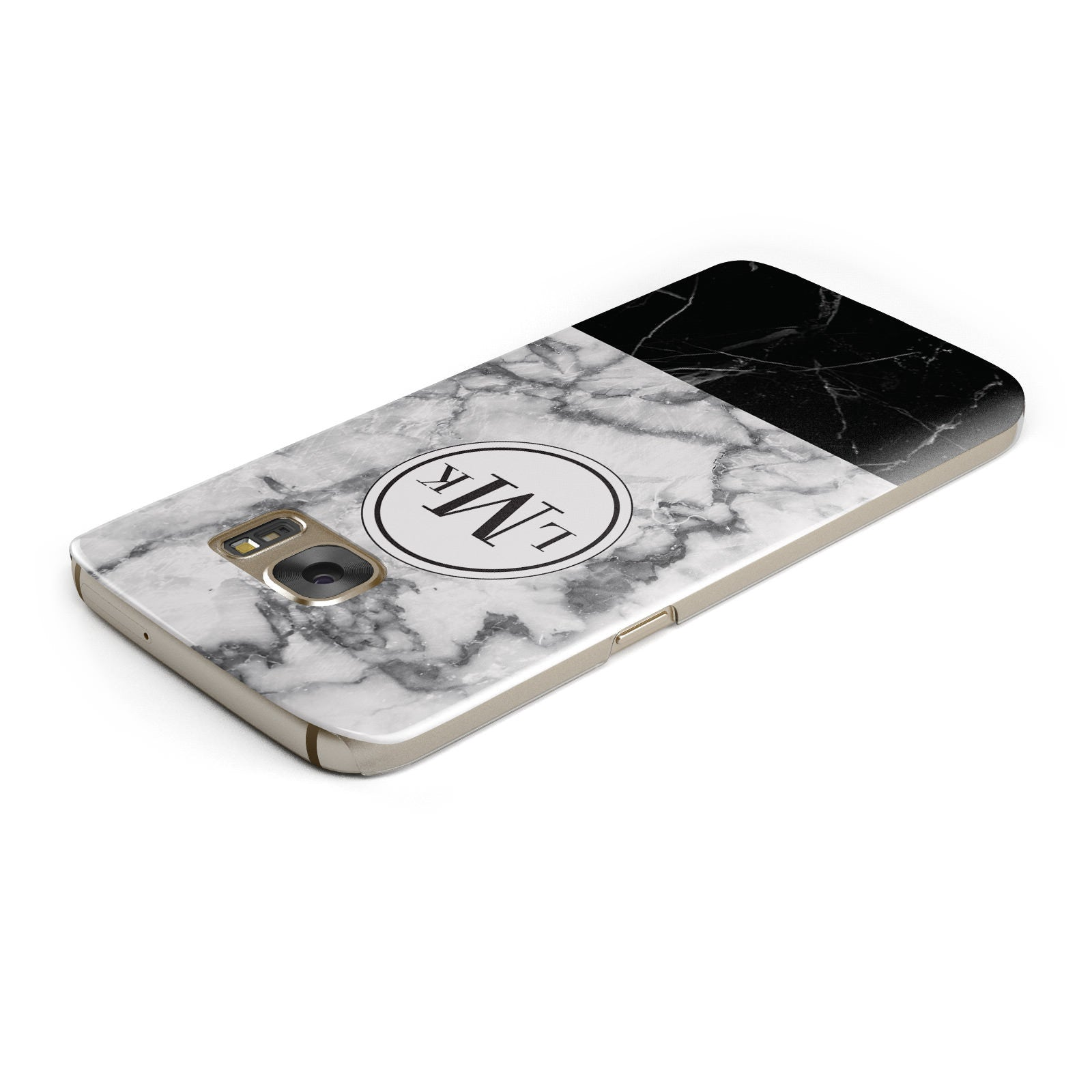 Geometric Marble Initials Personalised Samsung Galaxy Case Top Cutout