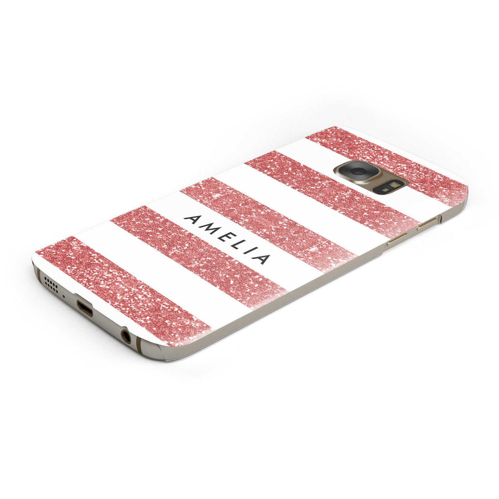 Personalised Glitter Effect Name Initials Samsung Galaxy Case Bottom Cutout