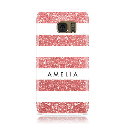 Personalised Glitter Effect Name Initials Samsung Galaxy Case